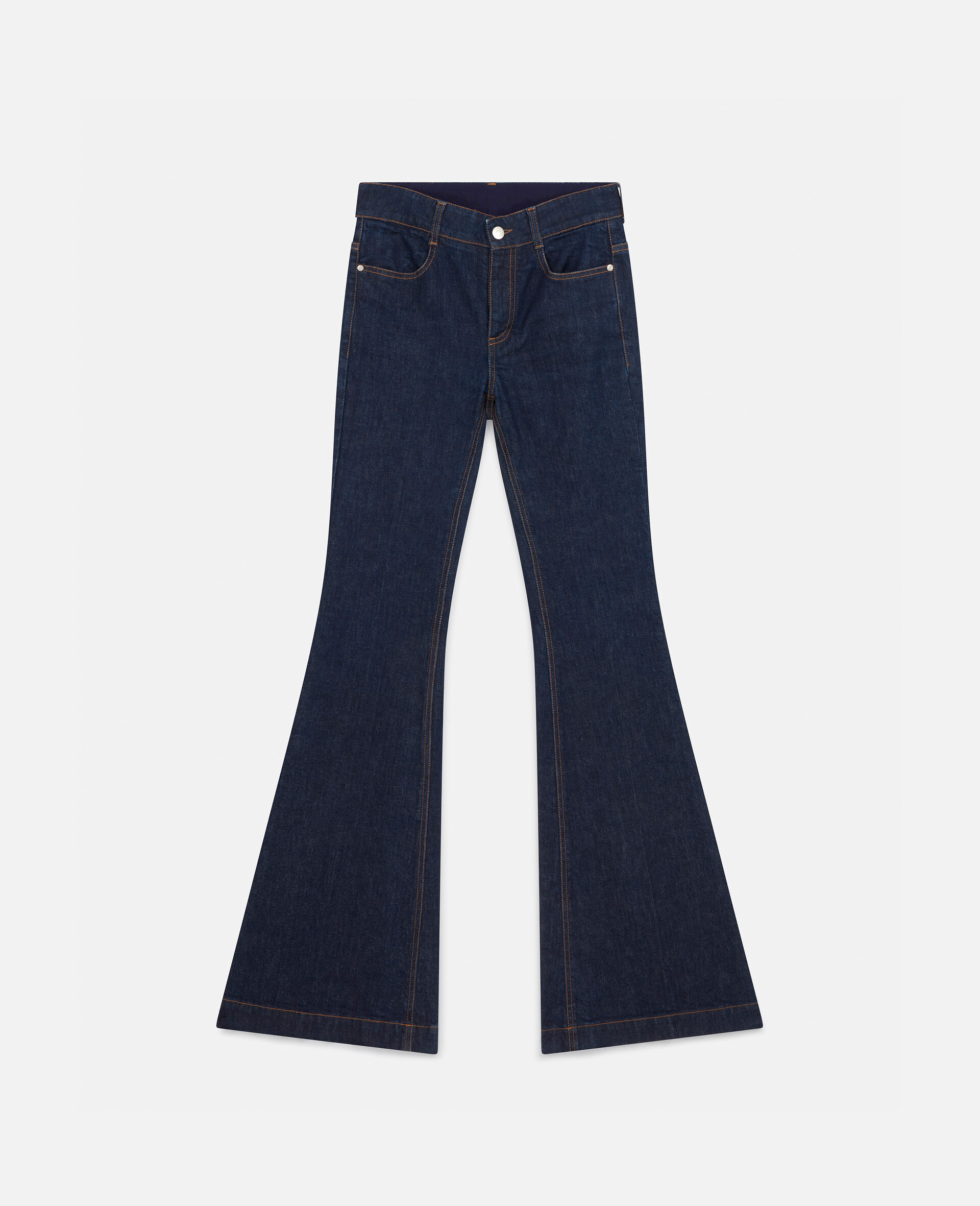 The 70s Flared Denim Trousers-Blue-large image number 0