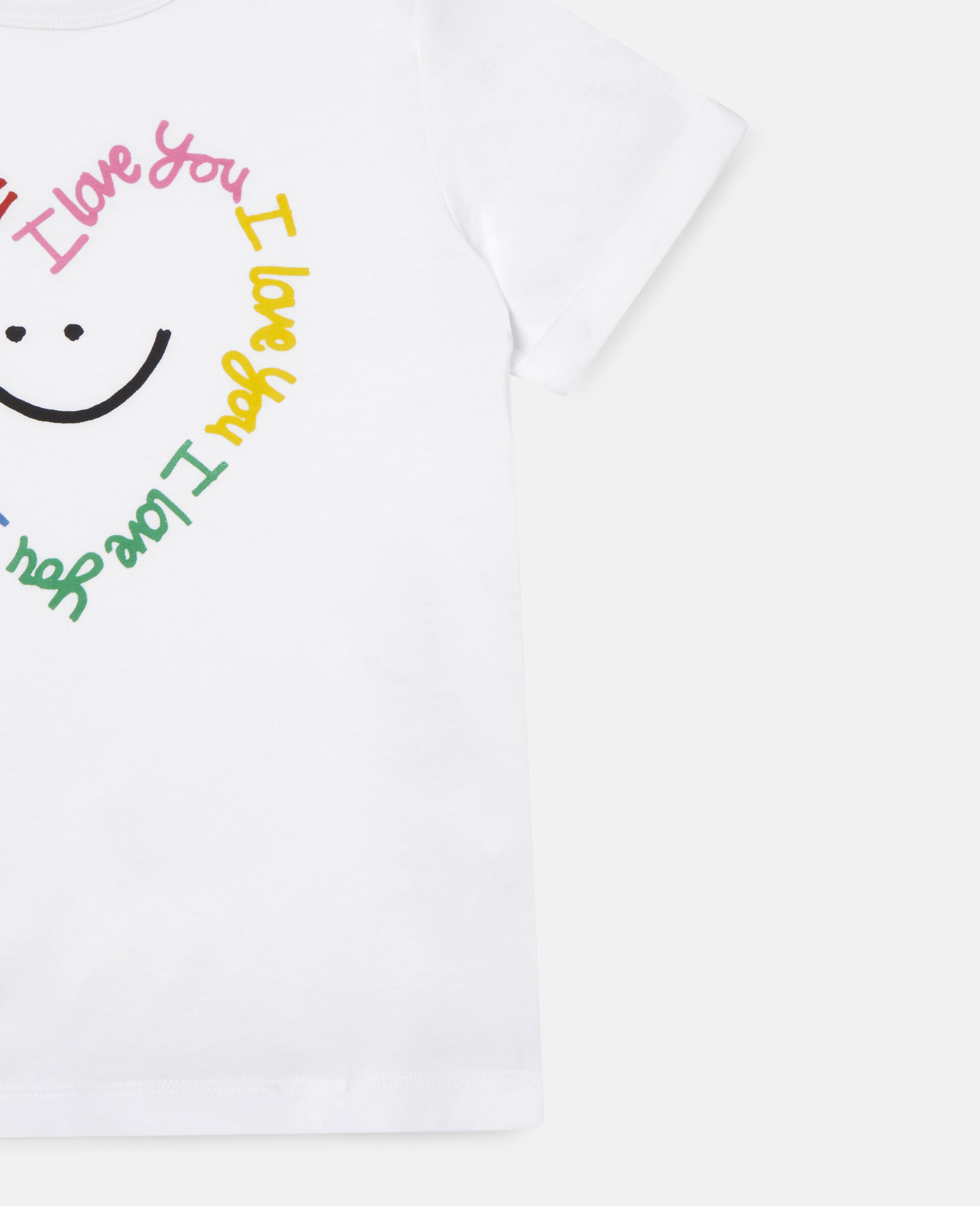 Smile Heart Cotton T-shirt -White-large image number 1