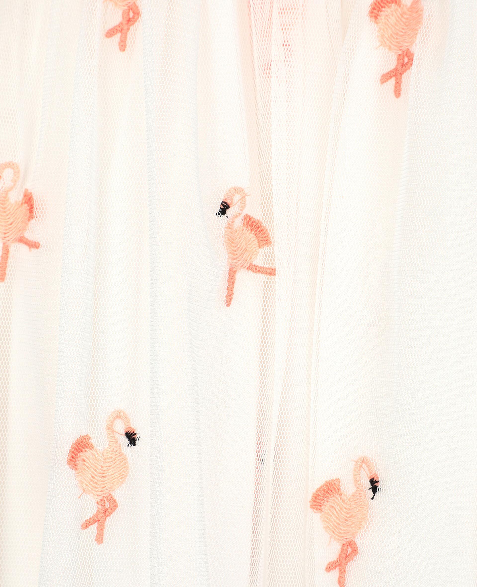 Kleid aus Tüll mit Flamingo-Stickerei-Weiß-large image number 2