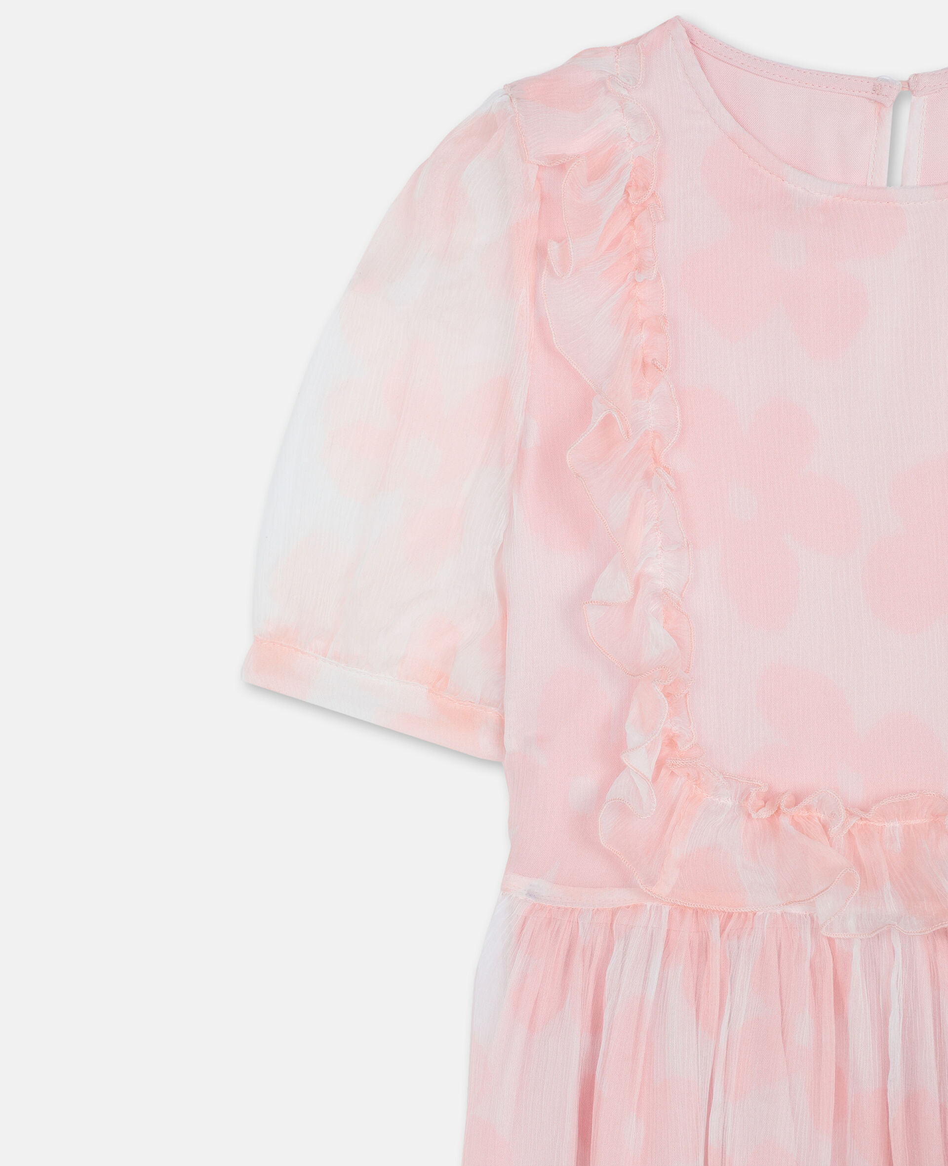 Robe en georgette de soie à fleurs-Rose-large image number 1