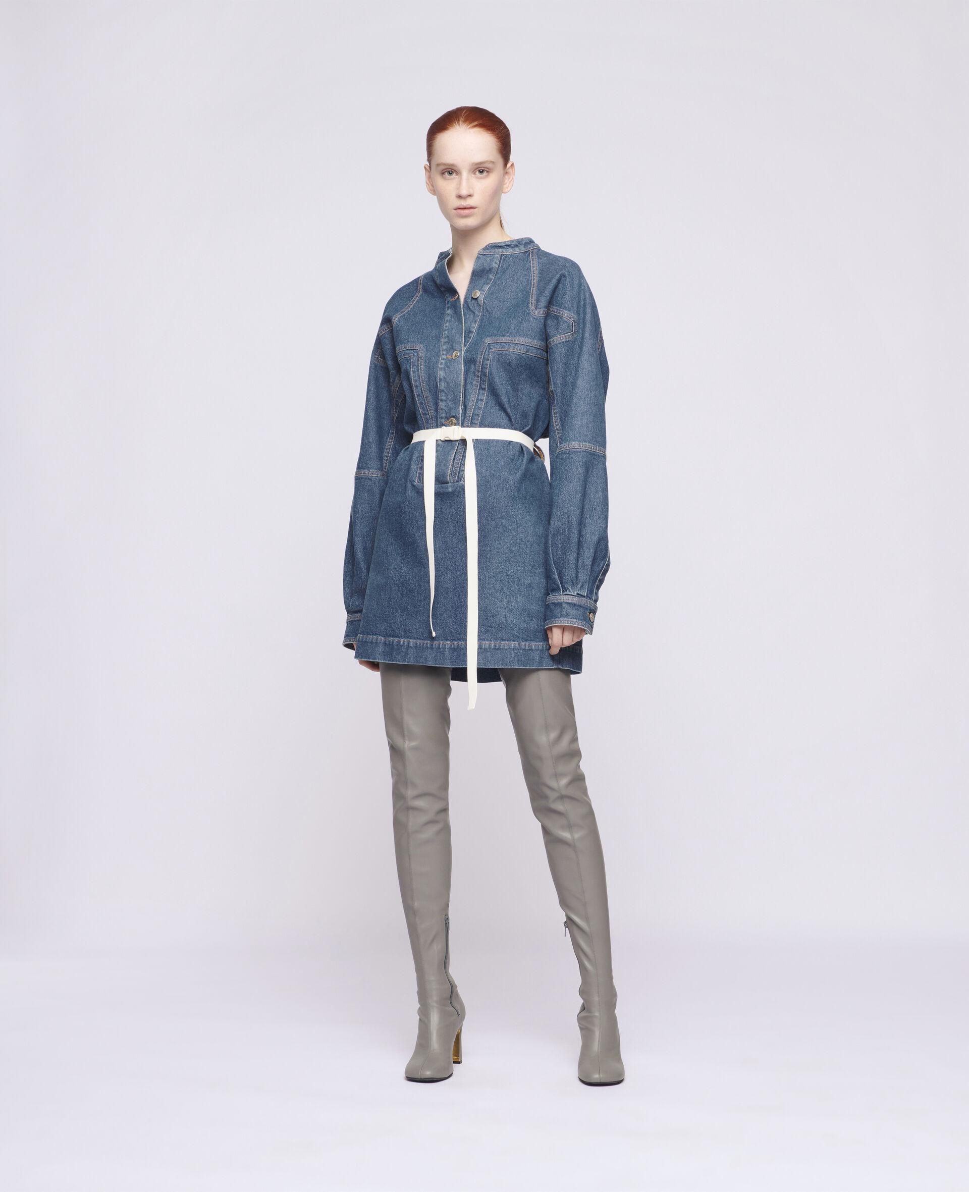 Robe courte en denim-Bleu-large image number 1