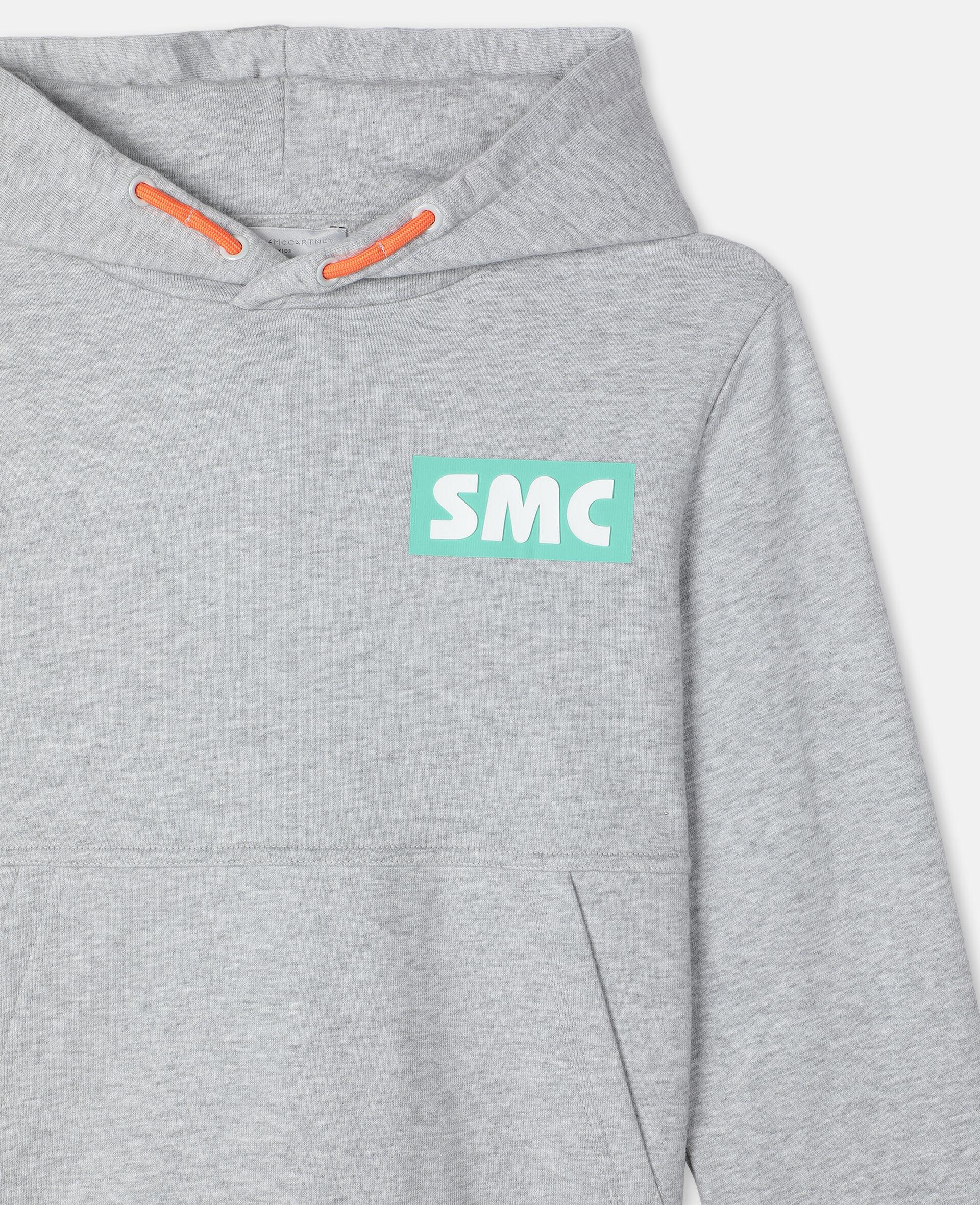 Oversize Logo Badge Cotton Sport Hoodie -Grey-large image number 1