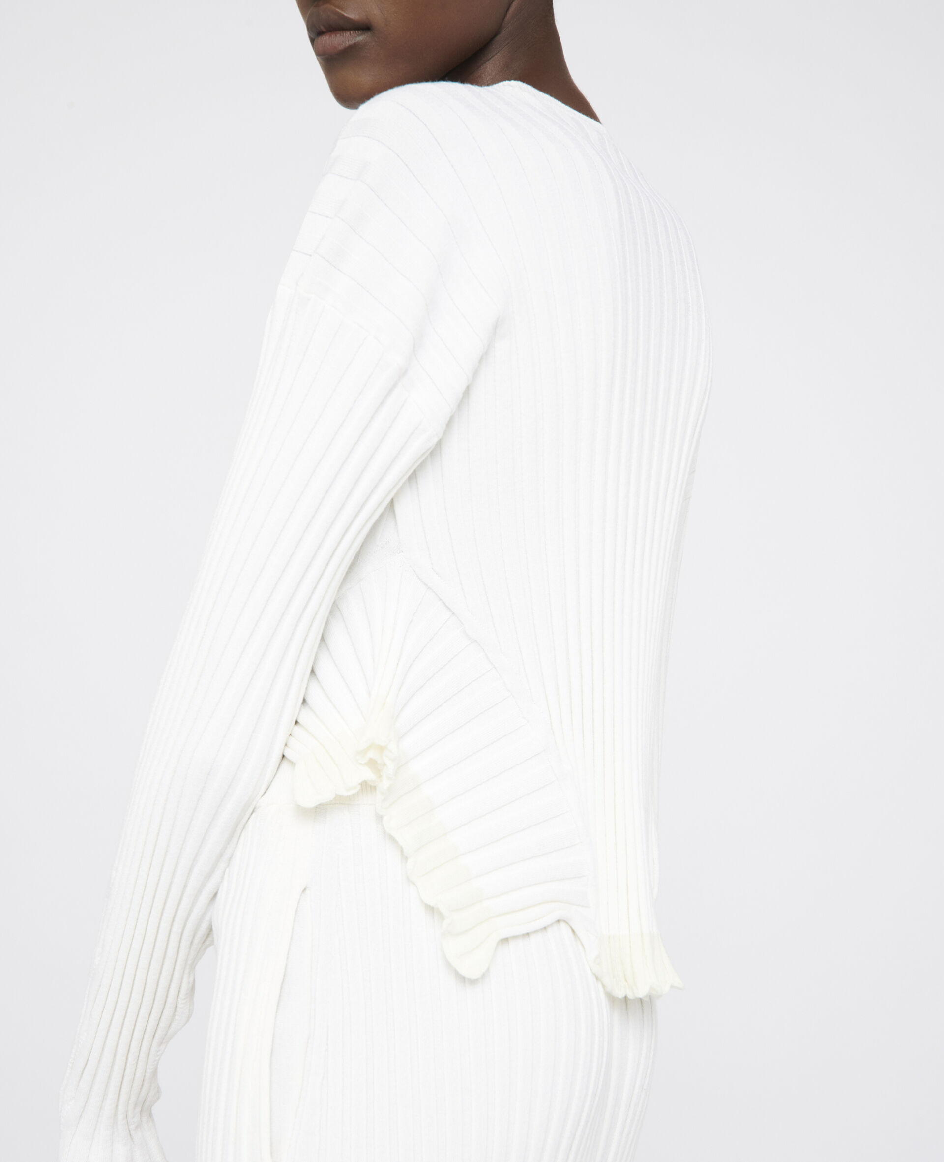 Rib-Knit Jumper -White-large image number 3