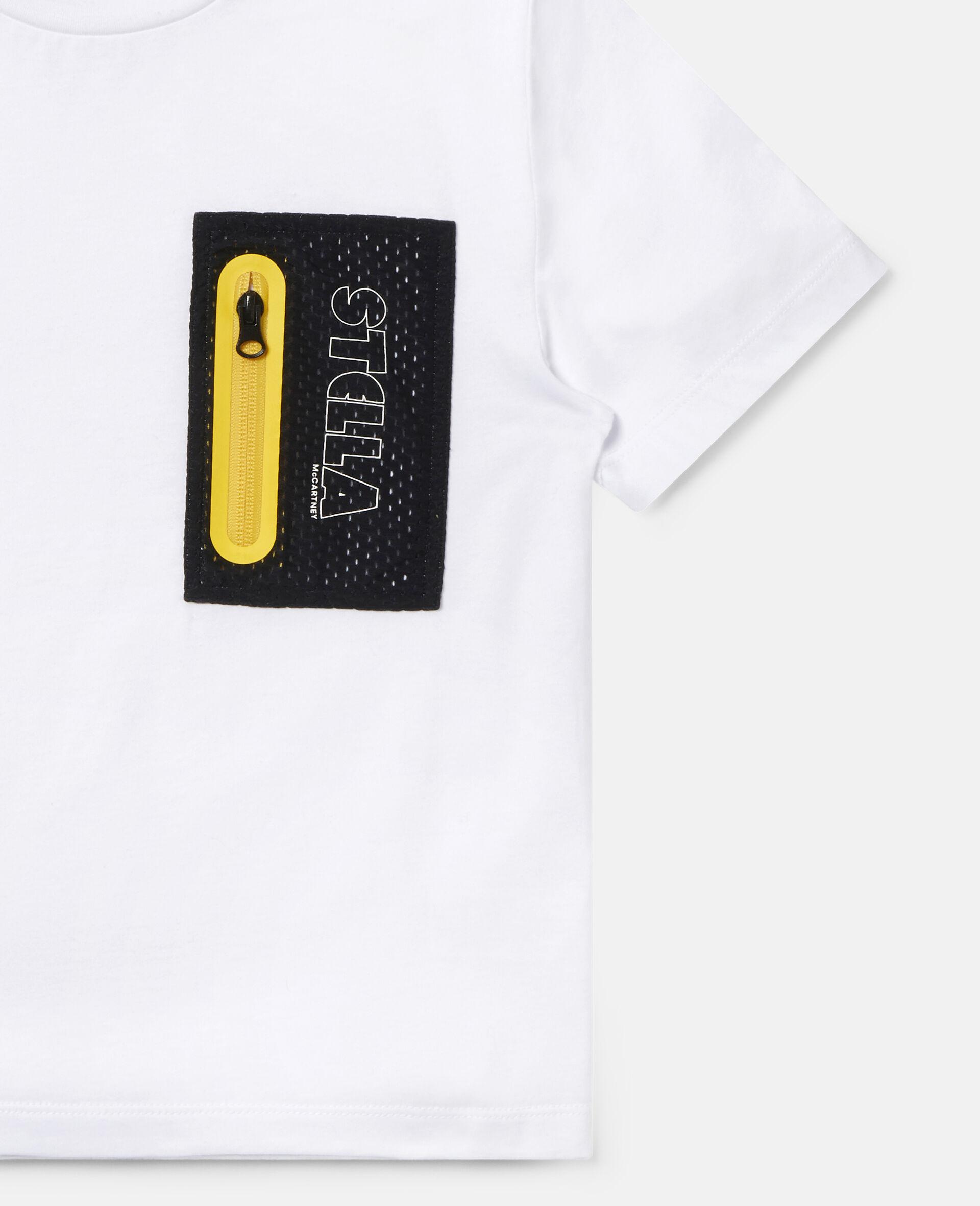 Übergroßes Sport-T-Shirt aus Baumwolle-Weiß-large image number 1