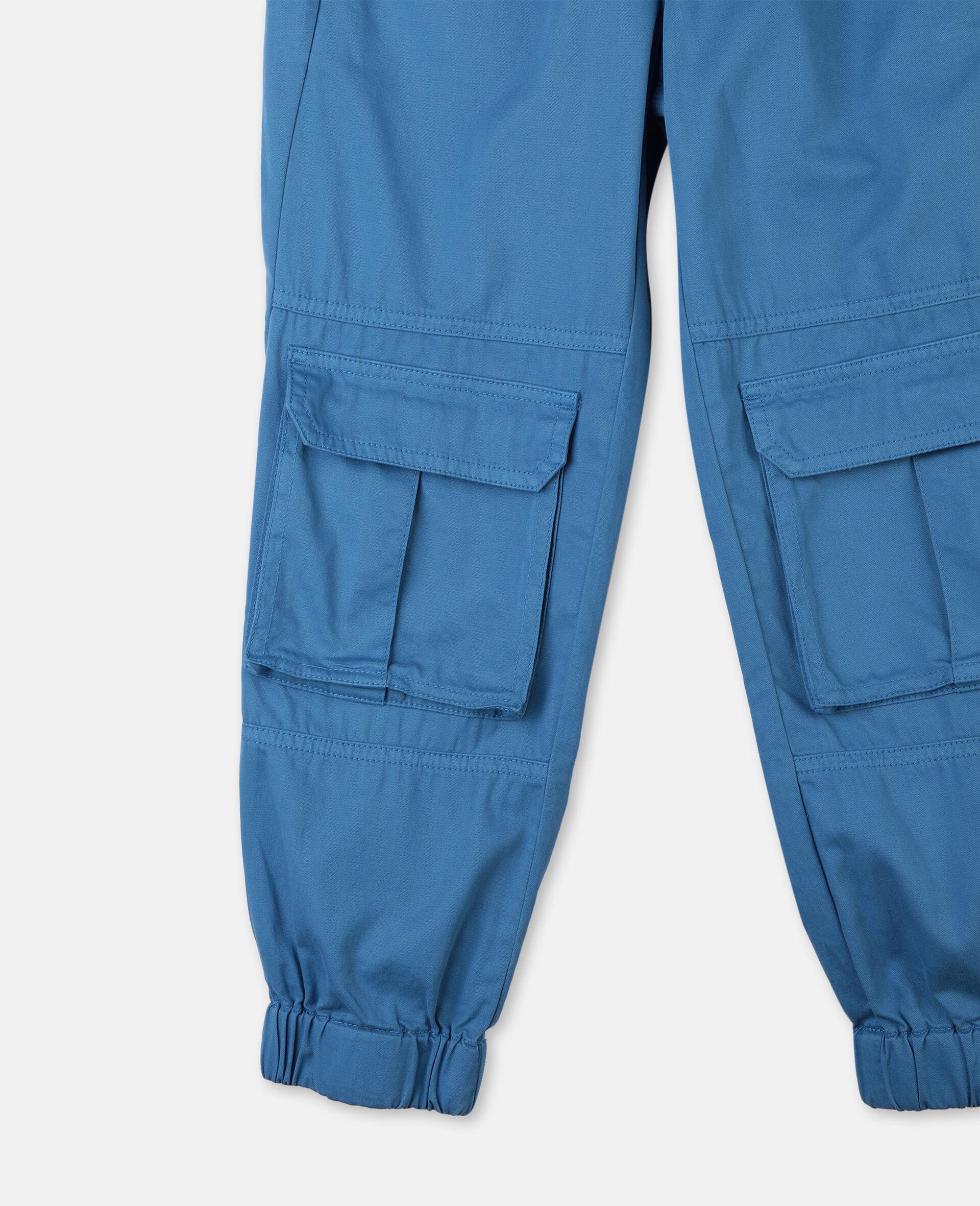 Pantalon cargo en sergé de coton -Bleu-large image number 1