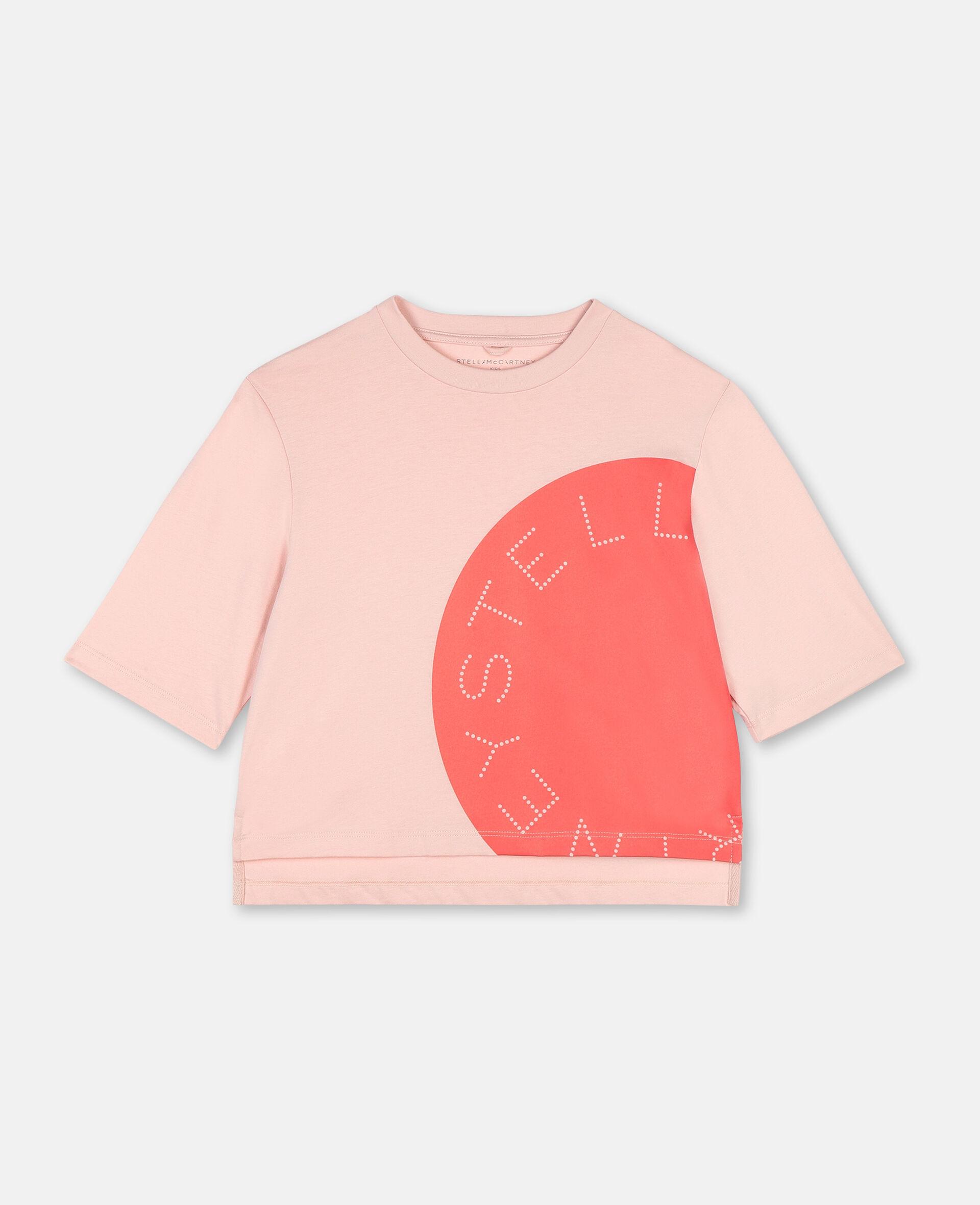 T-shirt de sport en coton oversize avec logo -Rose-large image number 0