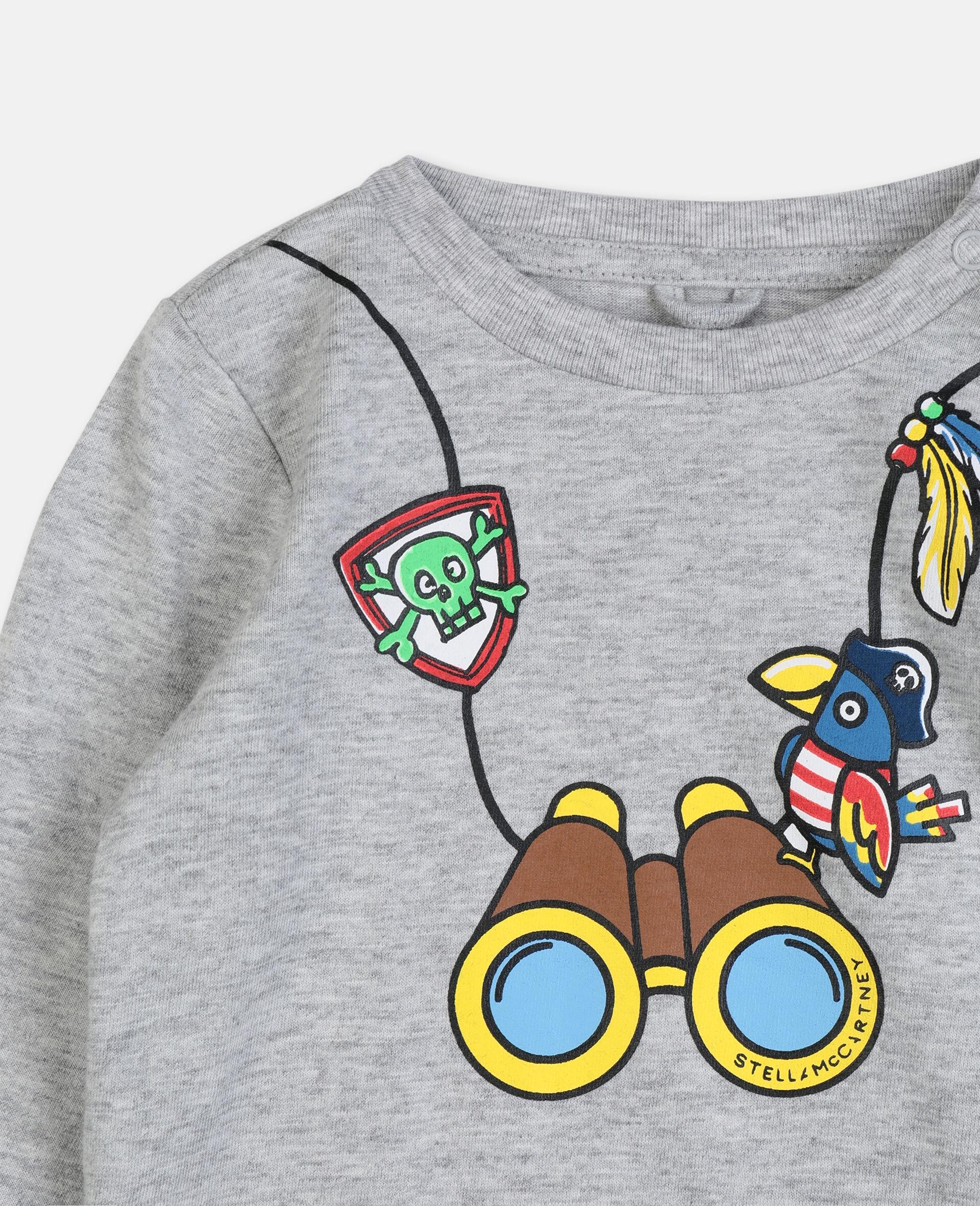 T-shirt en coton à motif jumelles -Gris-large image number 2