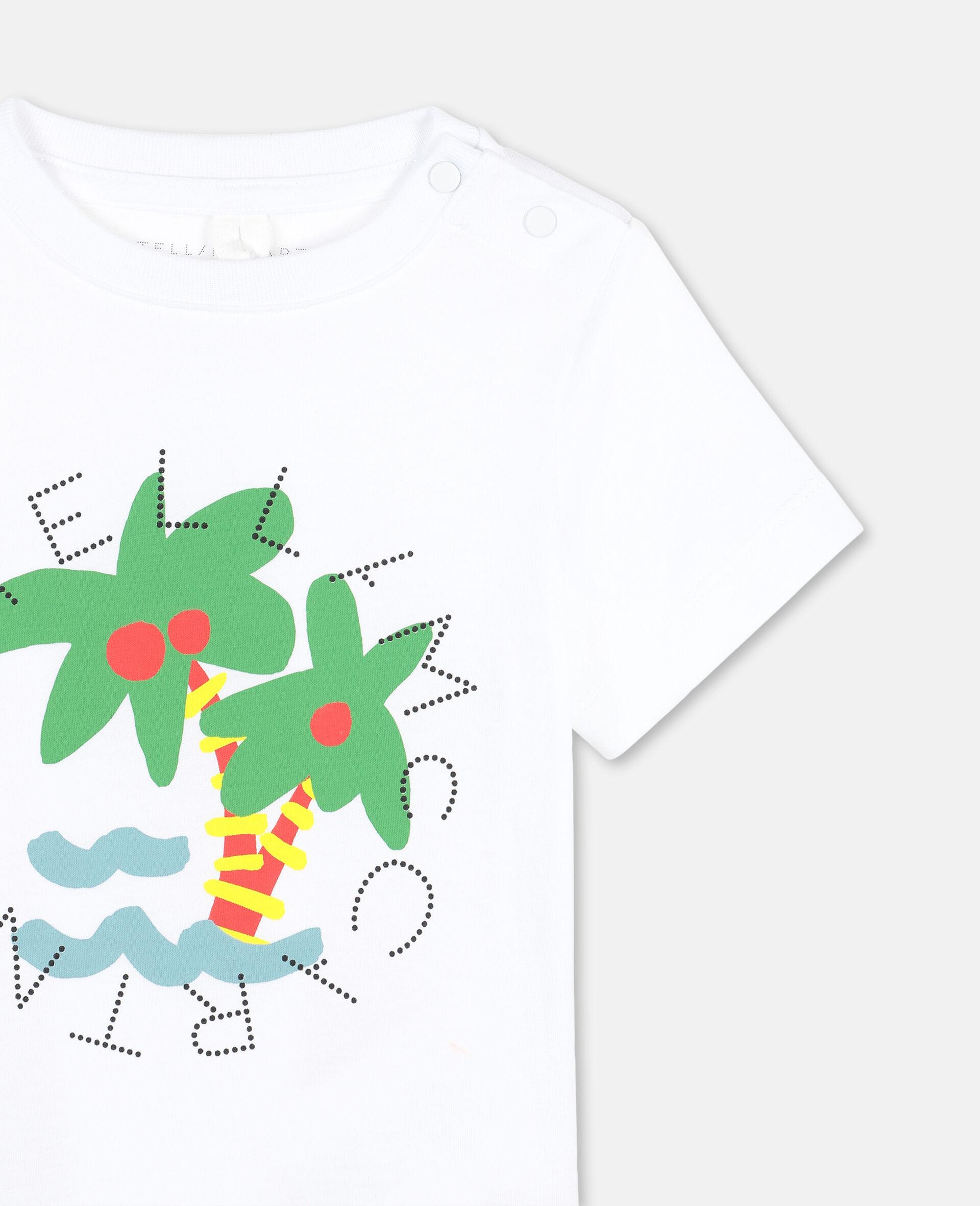 T-Shirt aus Baumwolle mit Palmen-Print und Logo -Weiß-large image number 2
