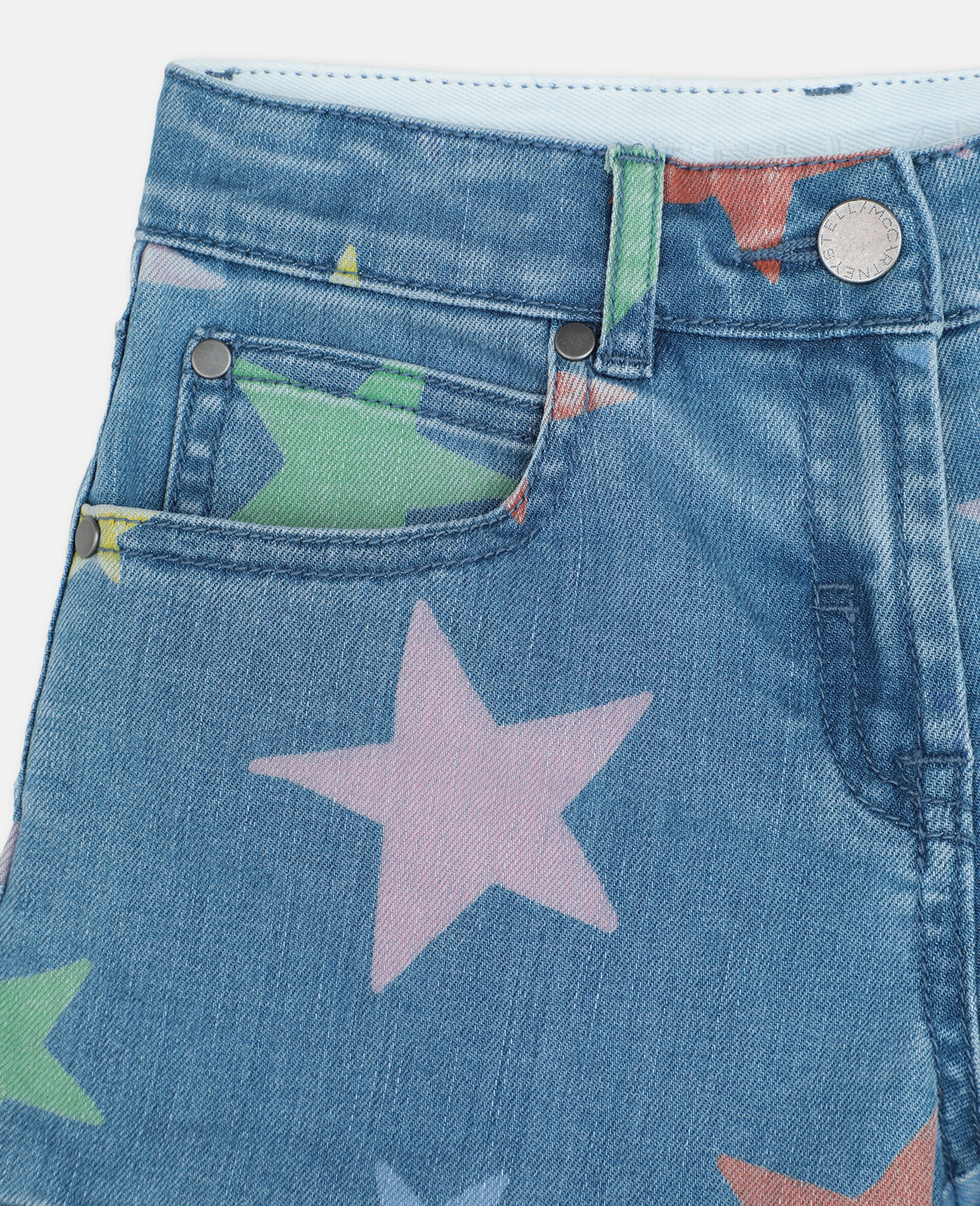 Multicolour Stars Denim Shorts -Multicolour-large image number 1