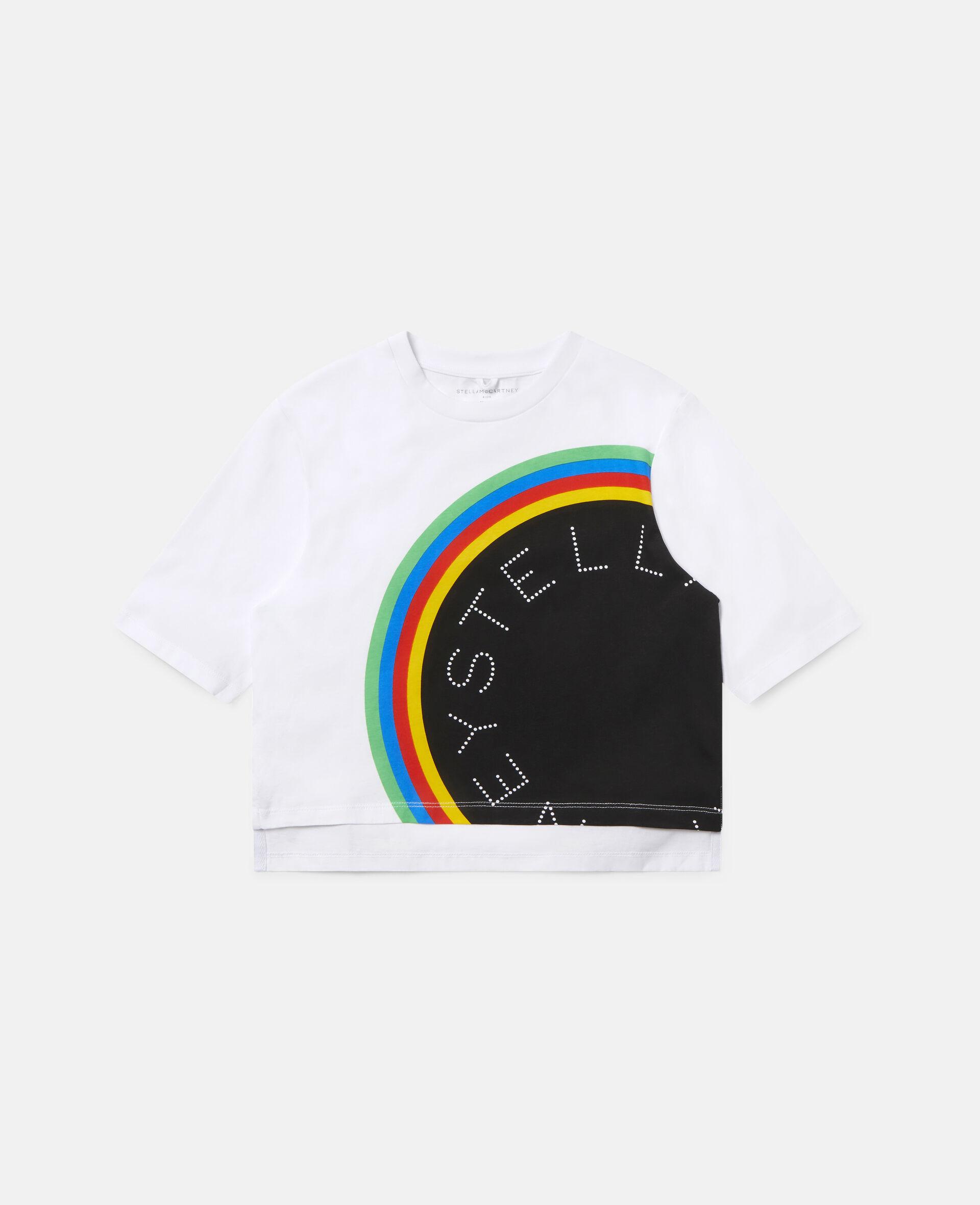 Übergroßes Sport-T-Shirt mit Streifen-Logo -Weiß-large image number 0