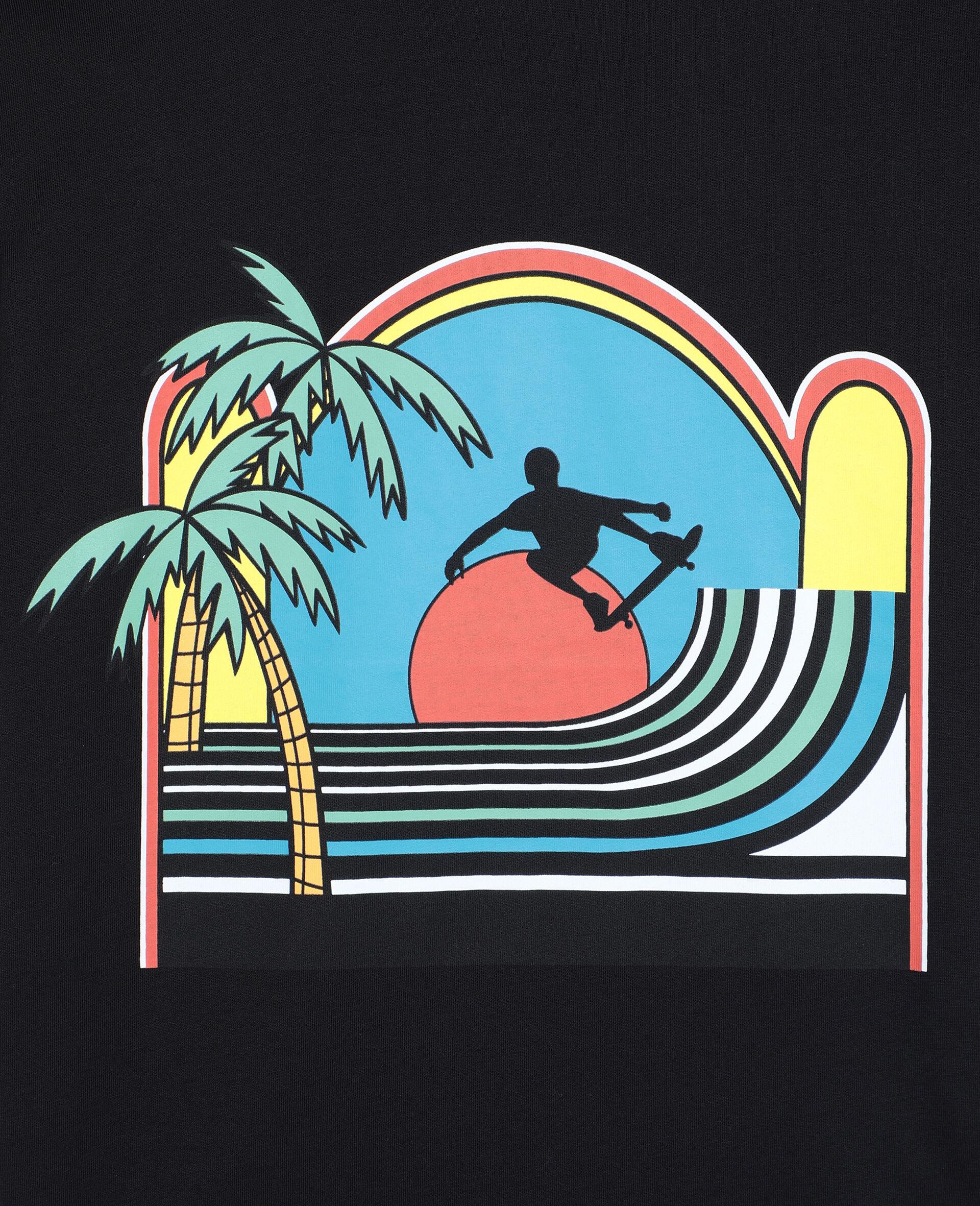 T-shirt oversize en coton à motif skater -Noir-large image number 1