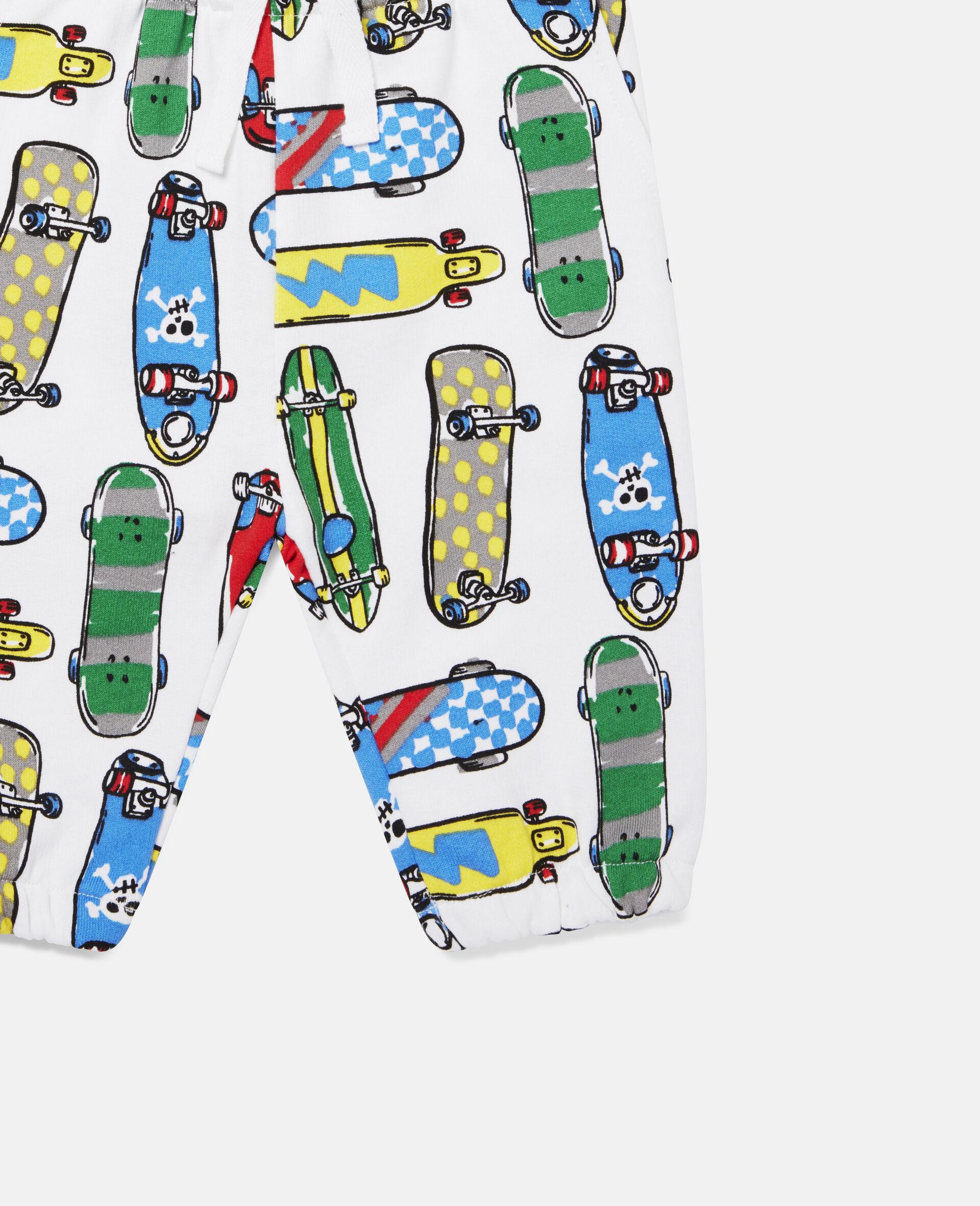 Fleece-Jogginghosen mit Skateboardmotiv-Weiß-large image number 1