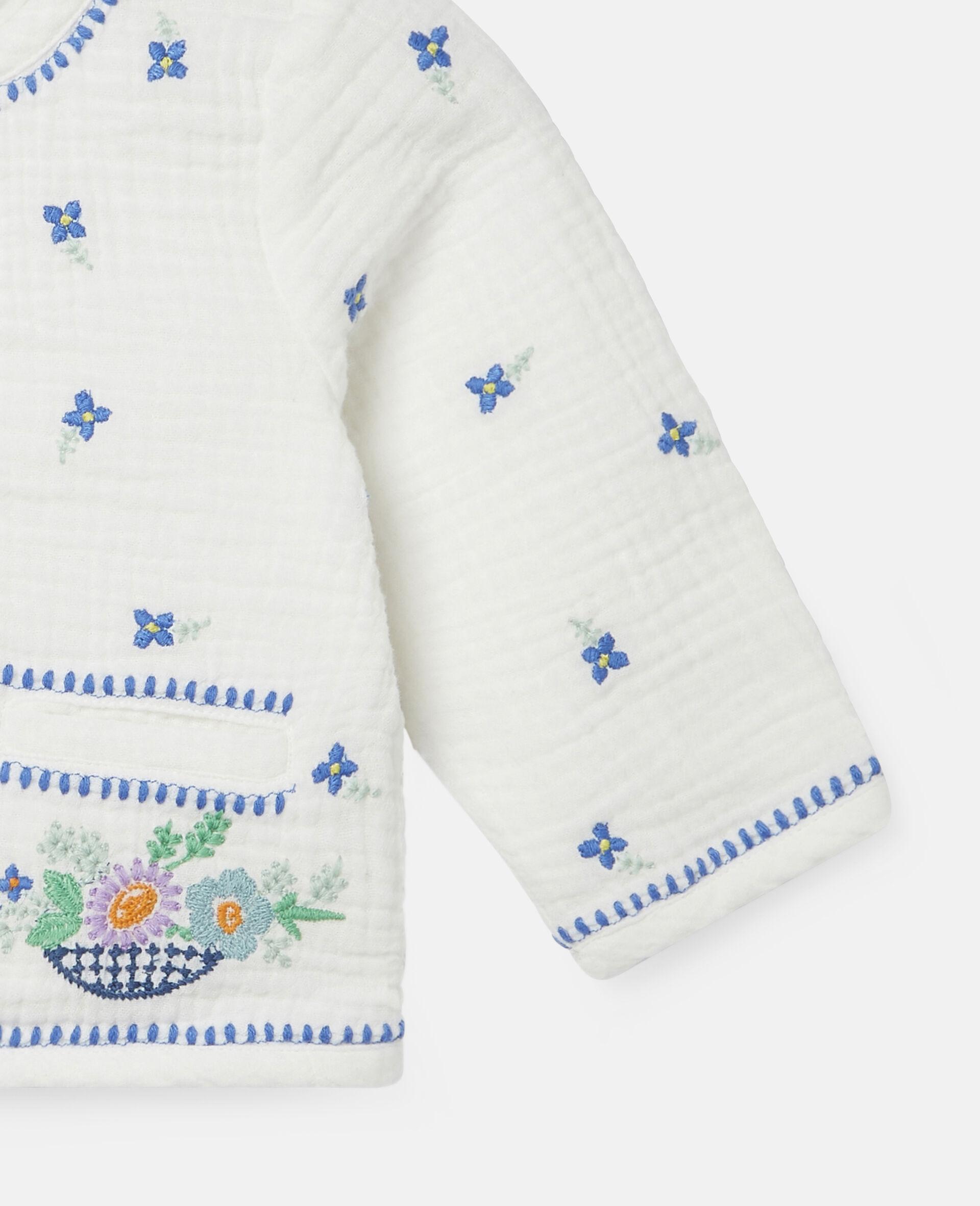 Veste en coton à fleurs brodées-Blanc-large image number 2