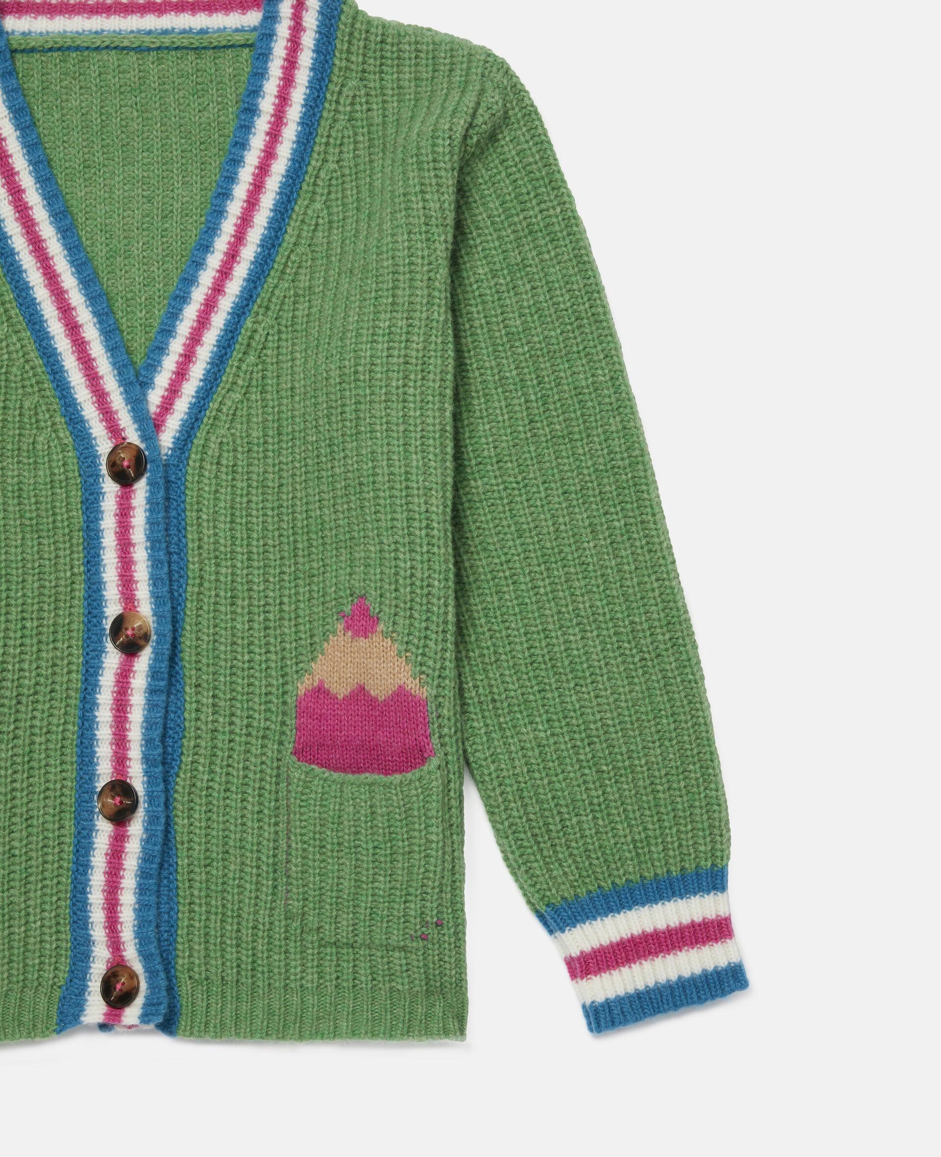 Cardigan en maille motif intarsia crayons -Vert-large image number 2