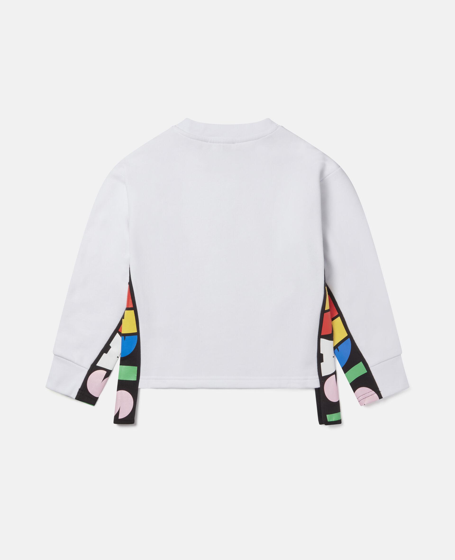 Übergroßes Sweatshirt aus Fleece mit Stella-Print -Weiß-large image number 3