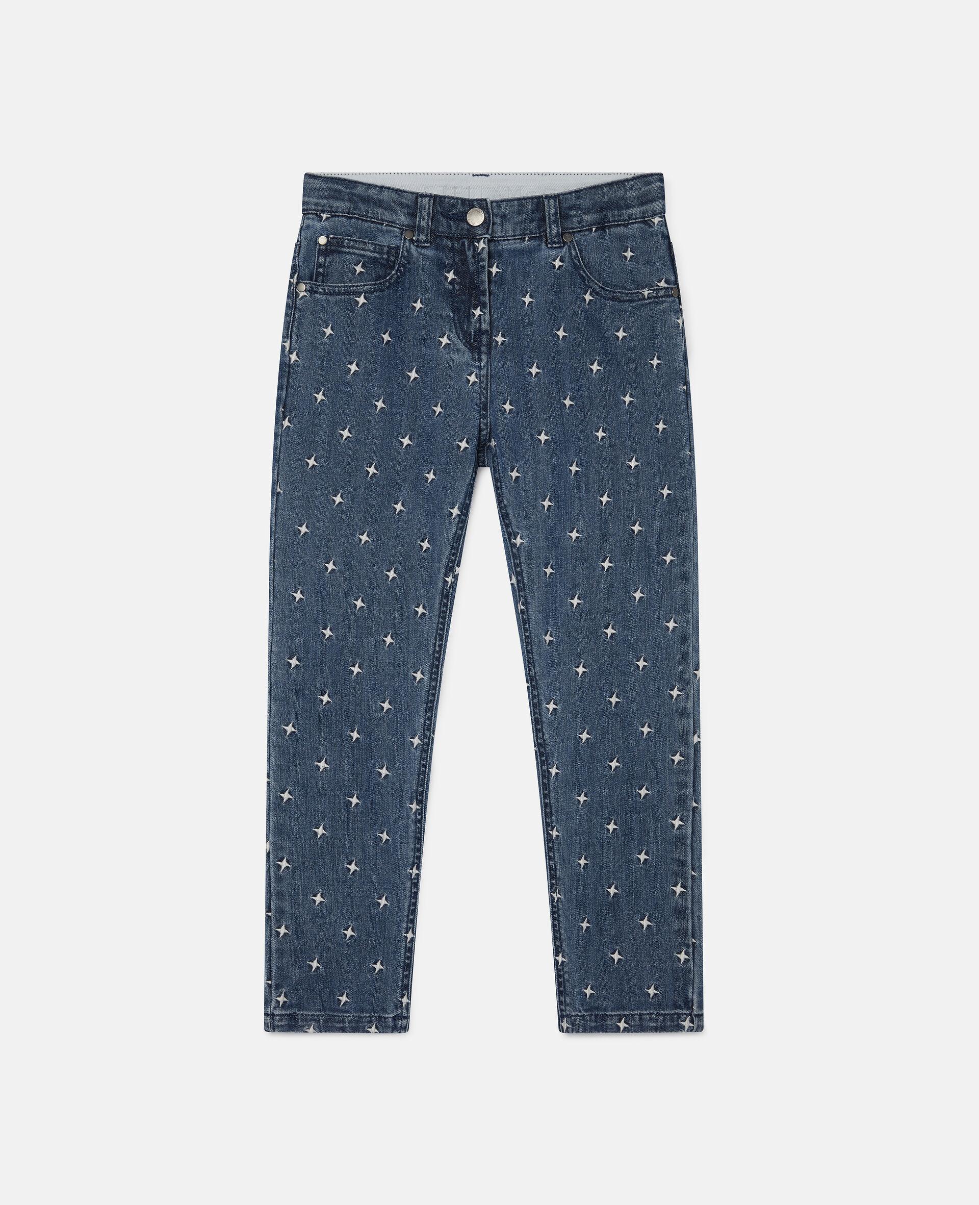 Pantalon en denim à étoiles brodées-Bleu-large image number 0