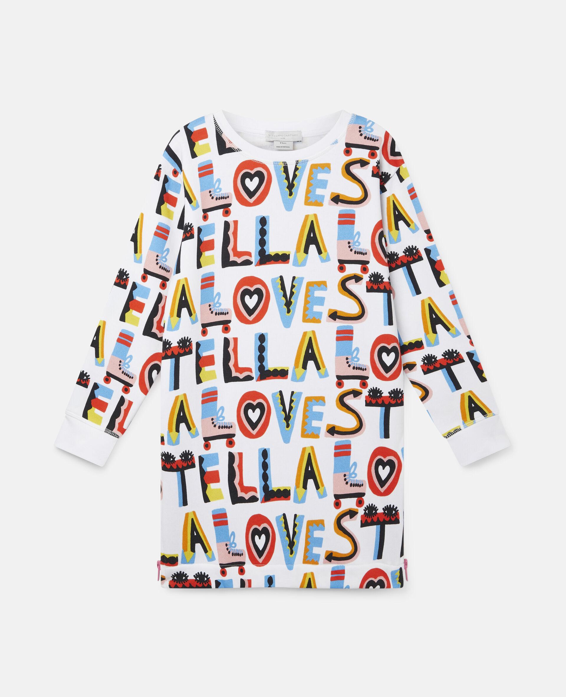 Kleid aus Baumwollfleece mit Stella Loves-Print-Weiß-large image number 0