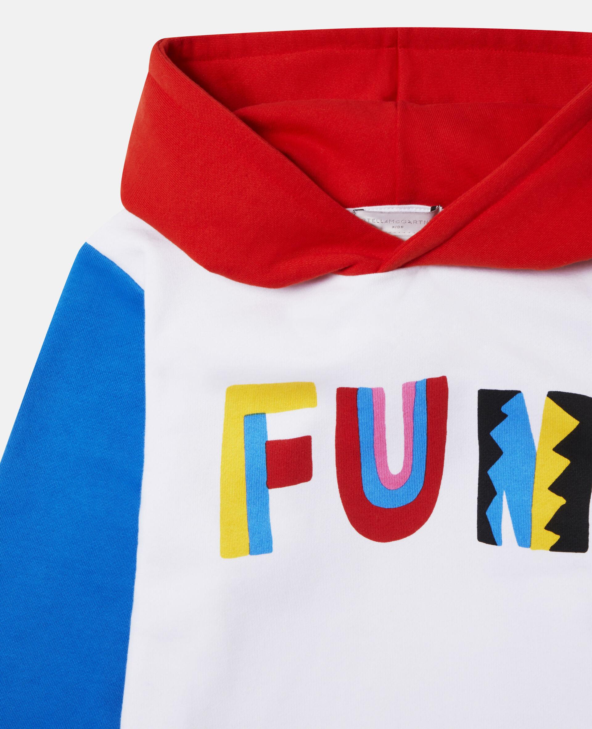 Übergroßer Kapuzenpullover mit Blockfarben und Fun-Print-Bunt-large image number 1