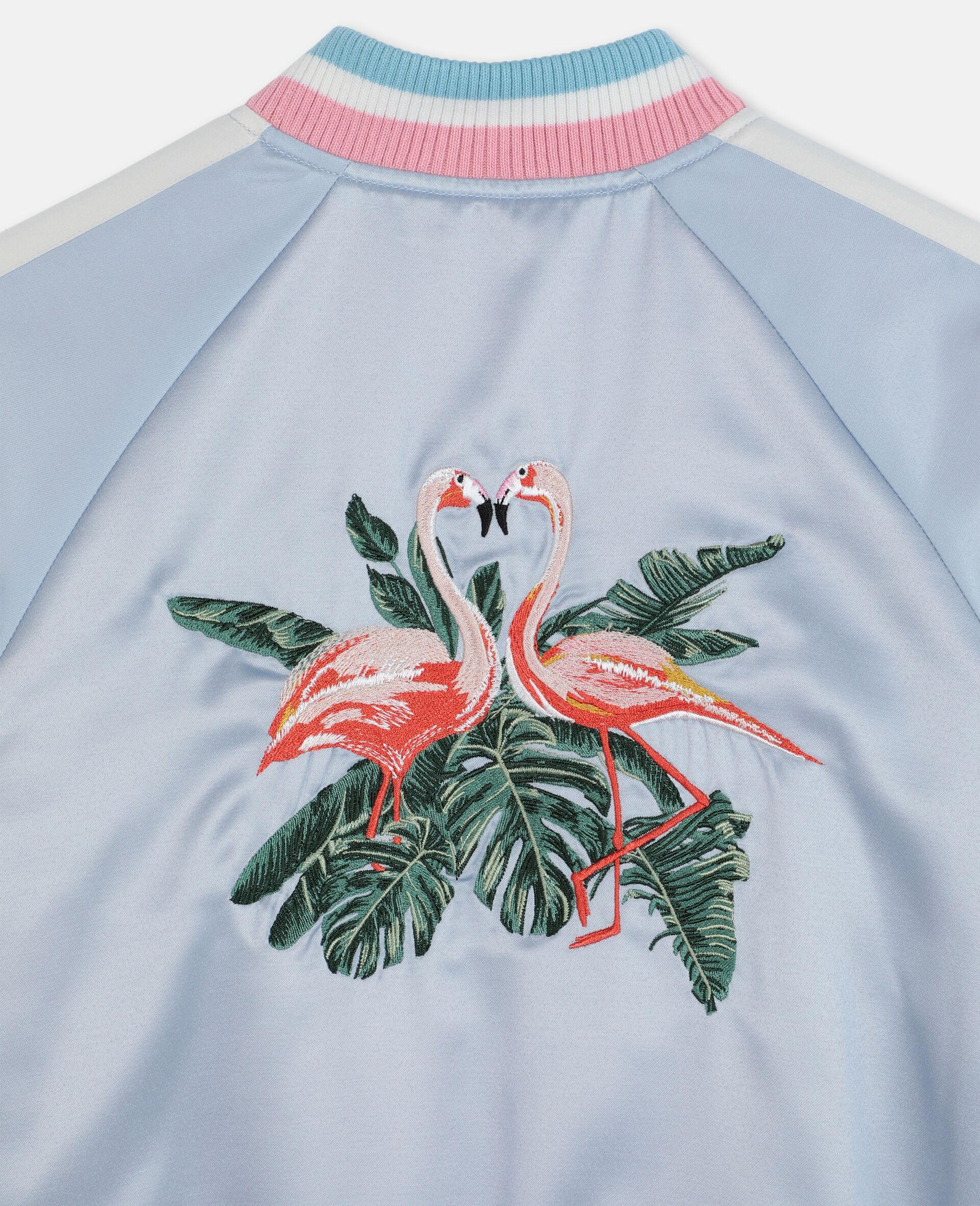 Embroidered Flamingo Satin Bomber -Blue-large image number 2
