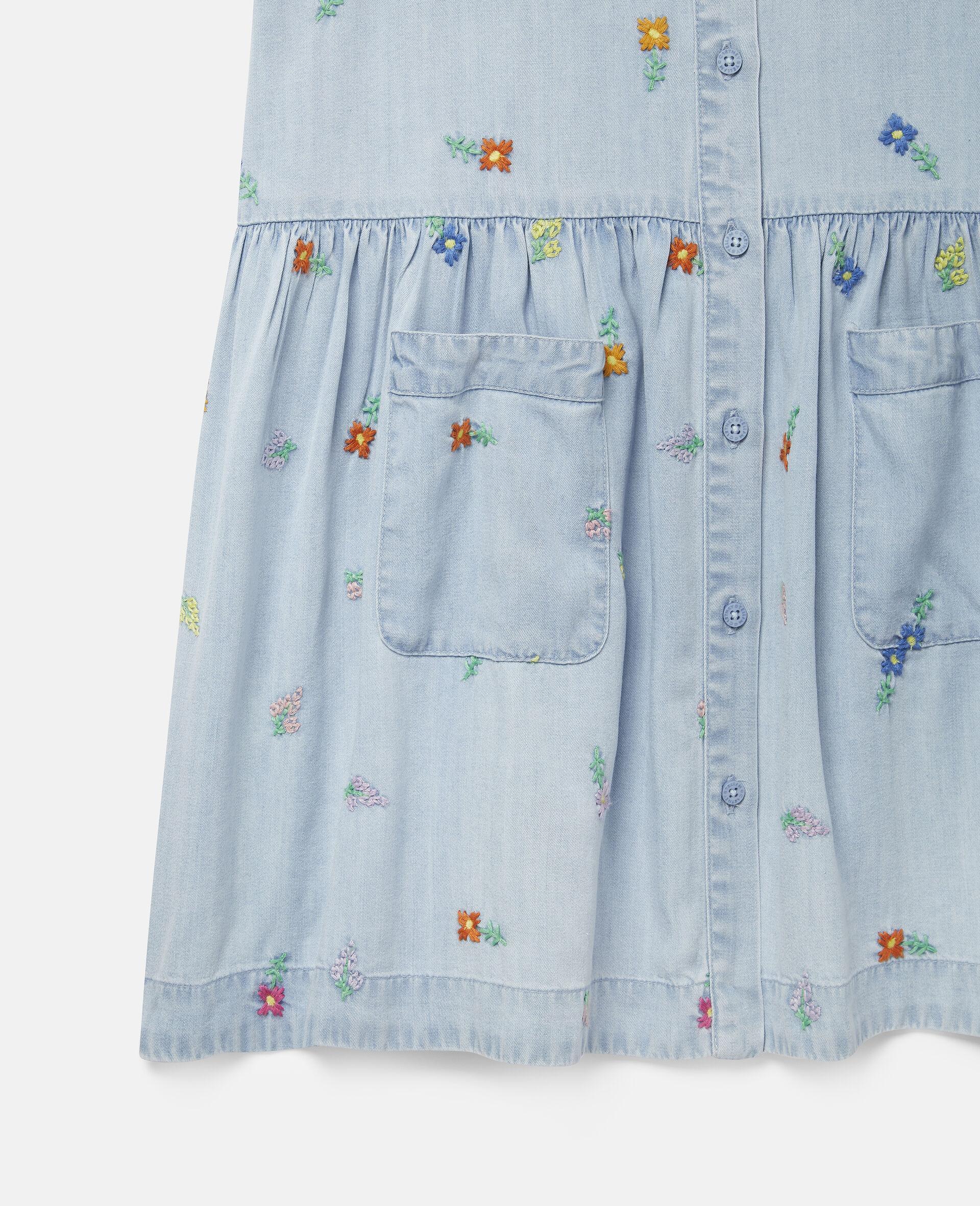 Embroidered Flowers Denim Dress-Blue-large image number 1