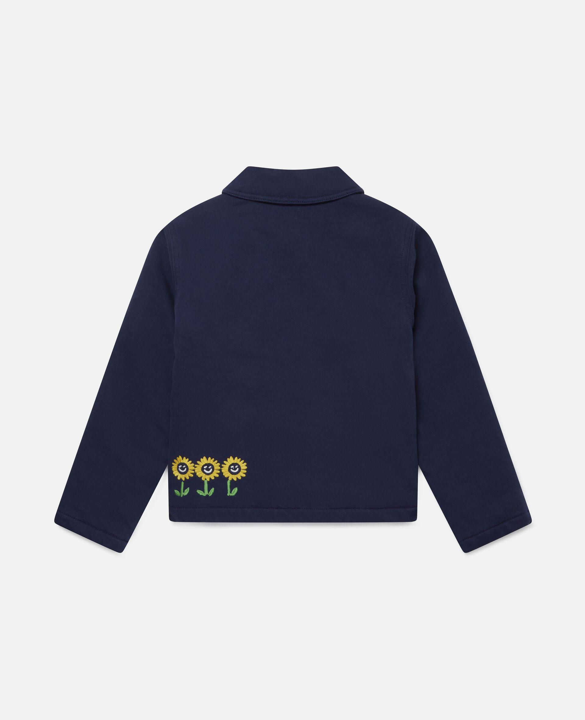Embroidered Garden Denim Jacket -Blue-large image number 3