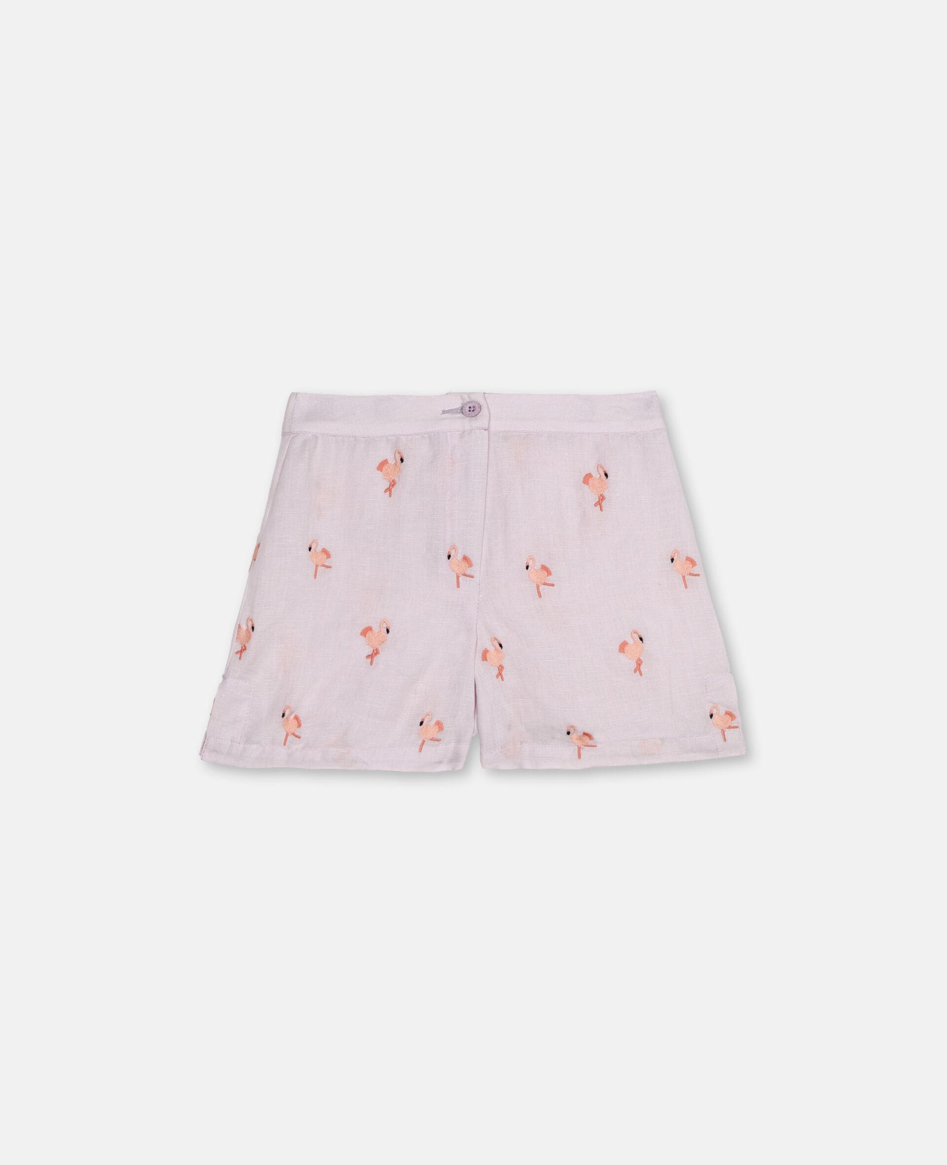 Embroidered Flamingo Shorts -Pink-large image number 0