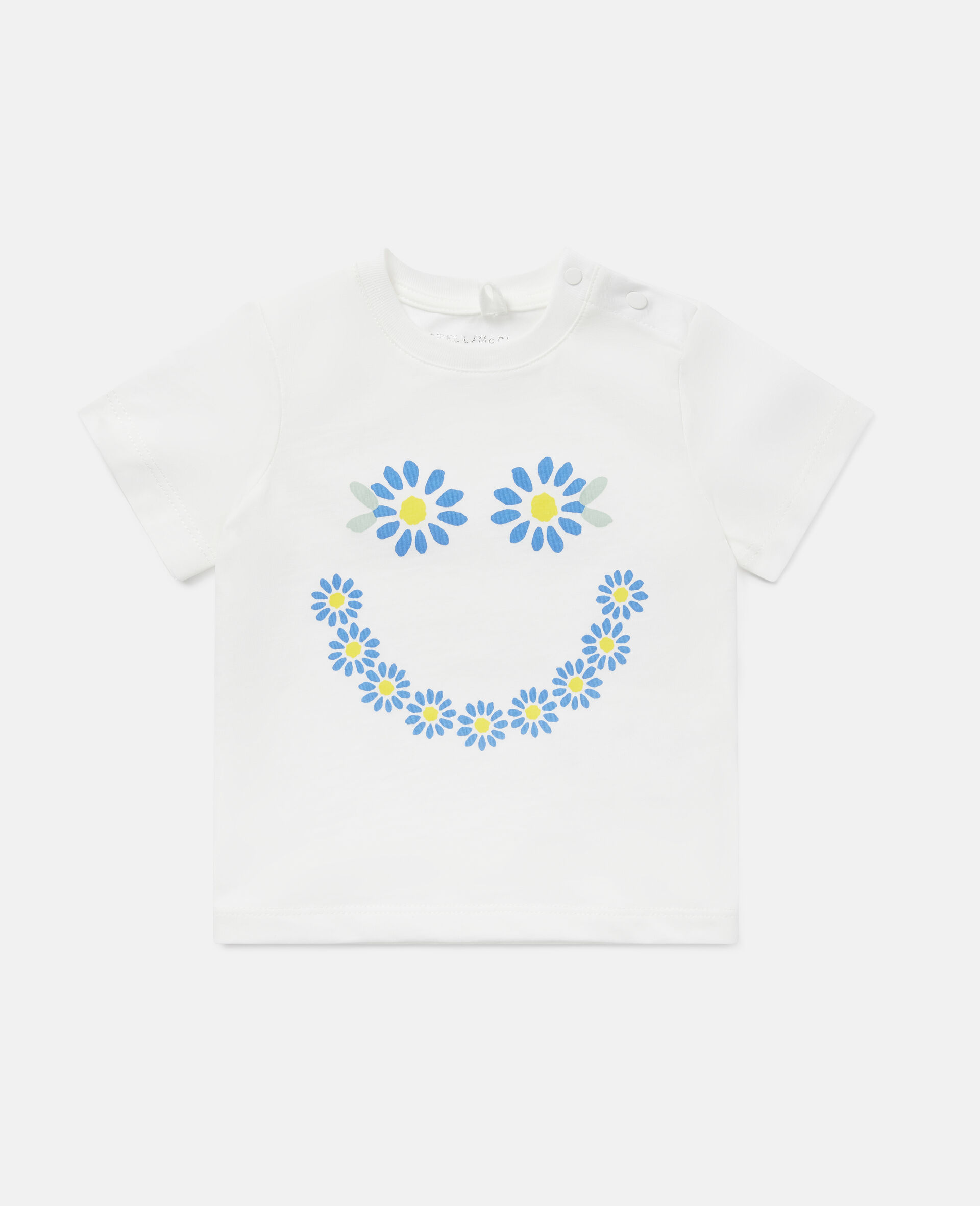 Smile Daisies Cotton T-Shirt-White-large image number 0