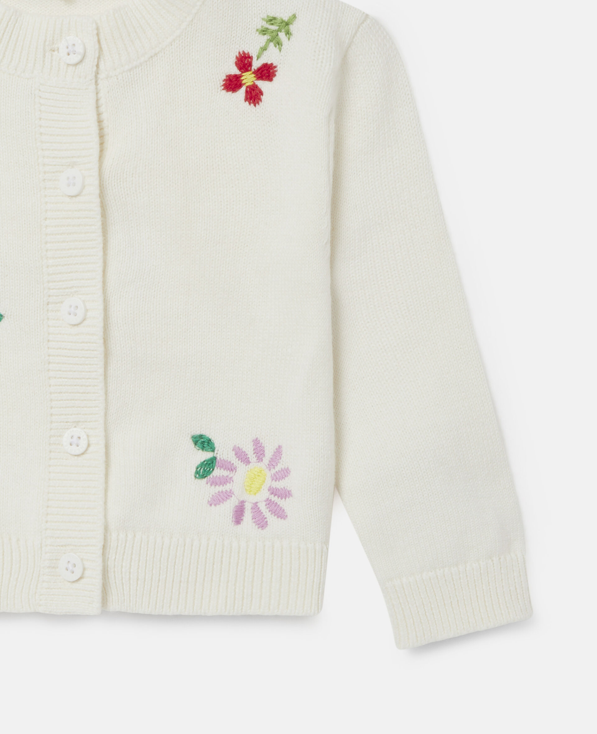 Embroidered Flowers Cardigan-White-large image number 2