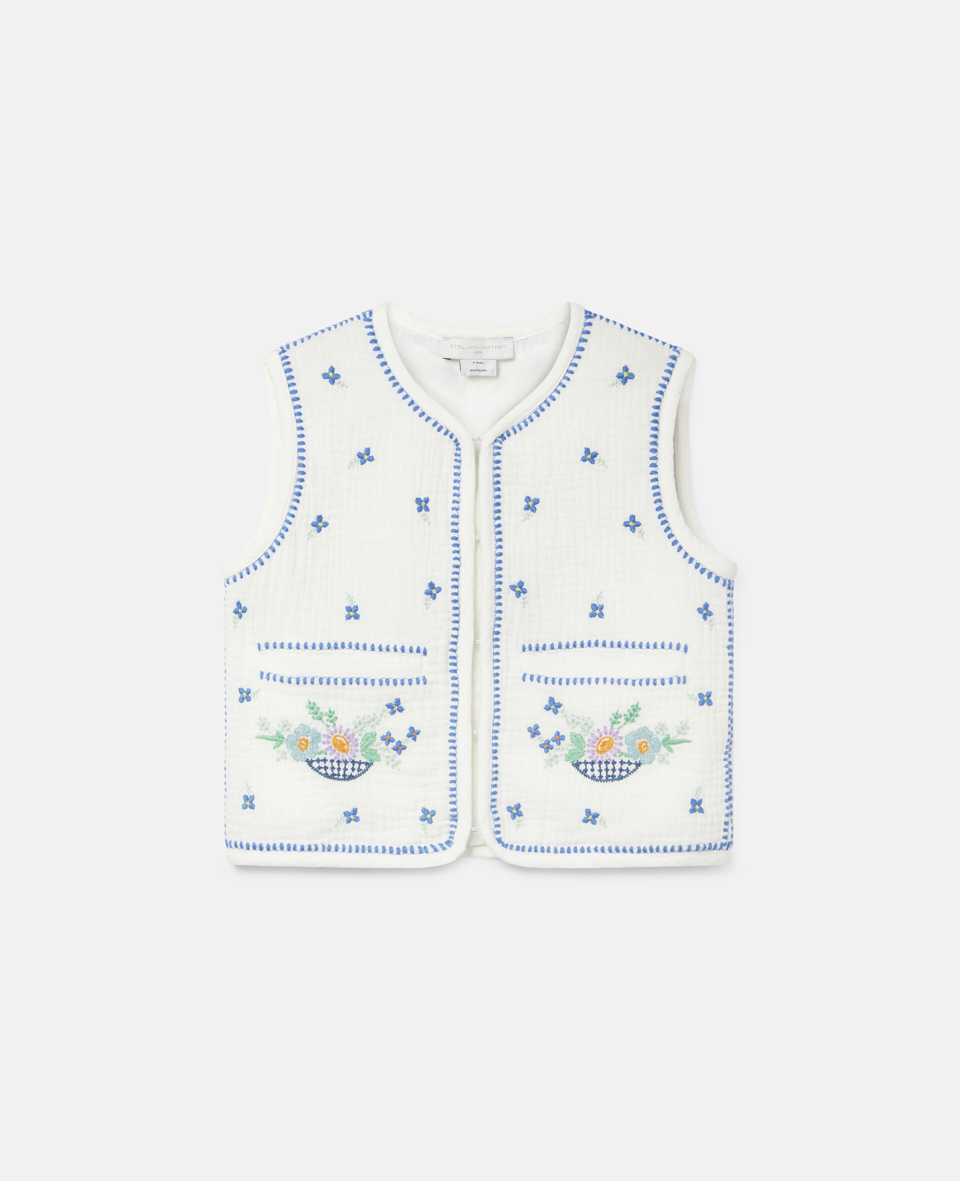 Embroidered Flowers Cotton Gilet-White-large image number 0