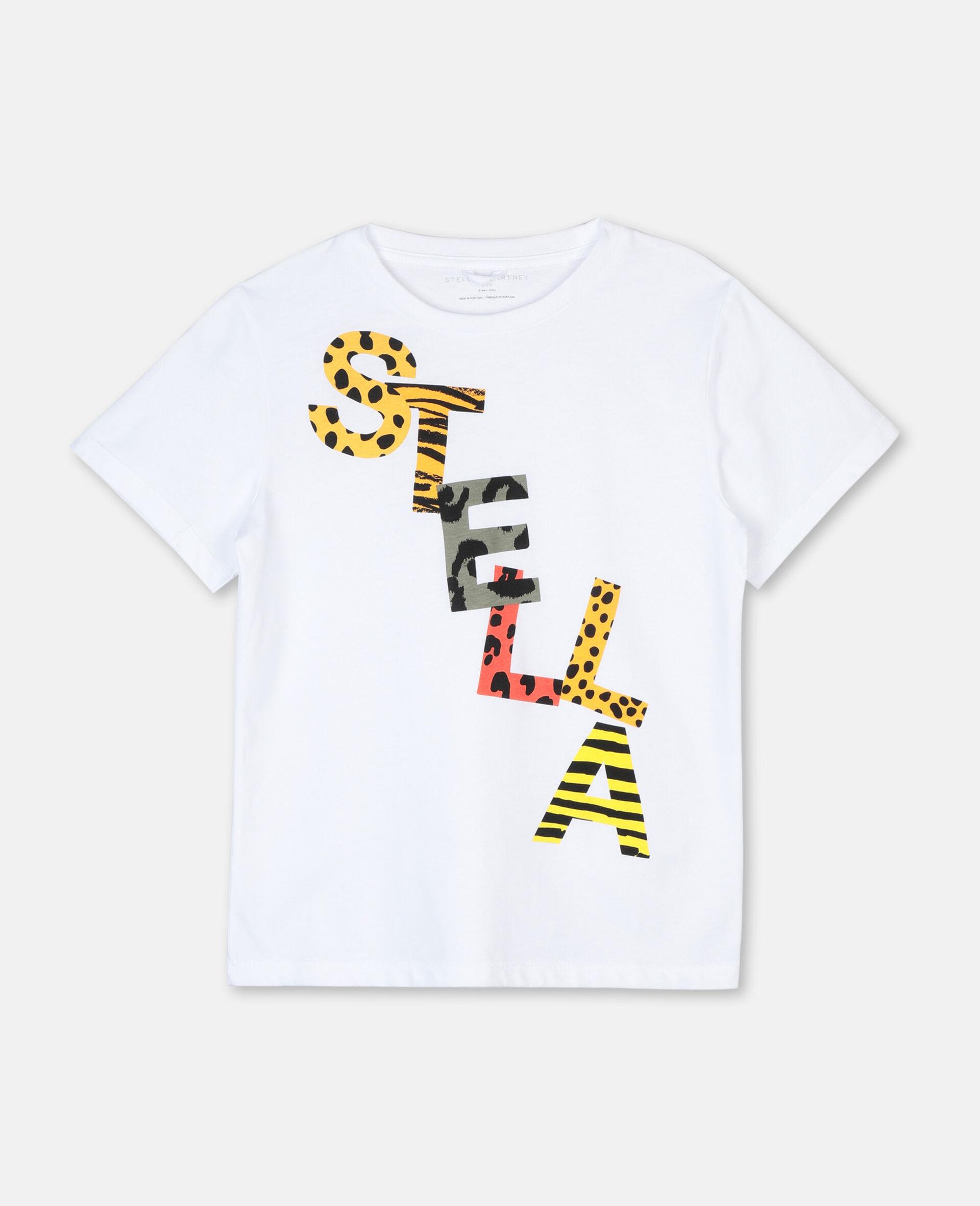Cheetah Cotton Logo T-shirt -White-large image number 0
