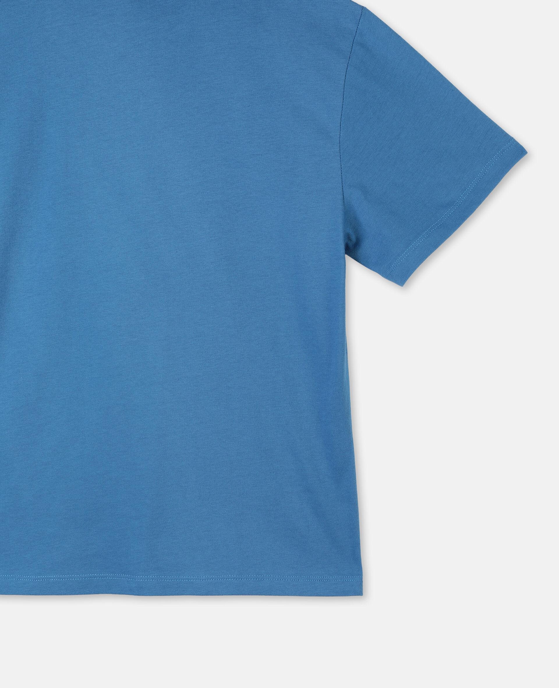 Oversize Logo Sailing Cotton T-Shirt -Blue-large image number 2