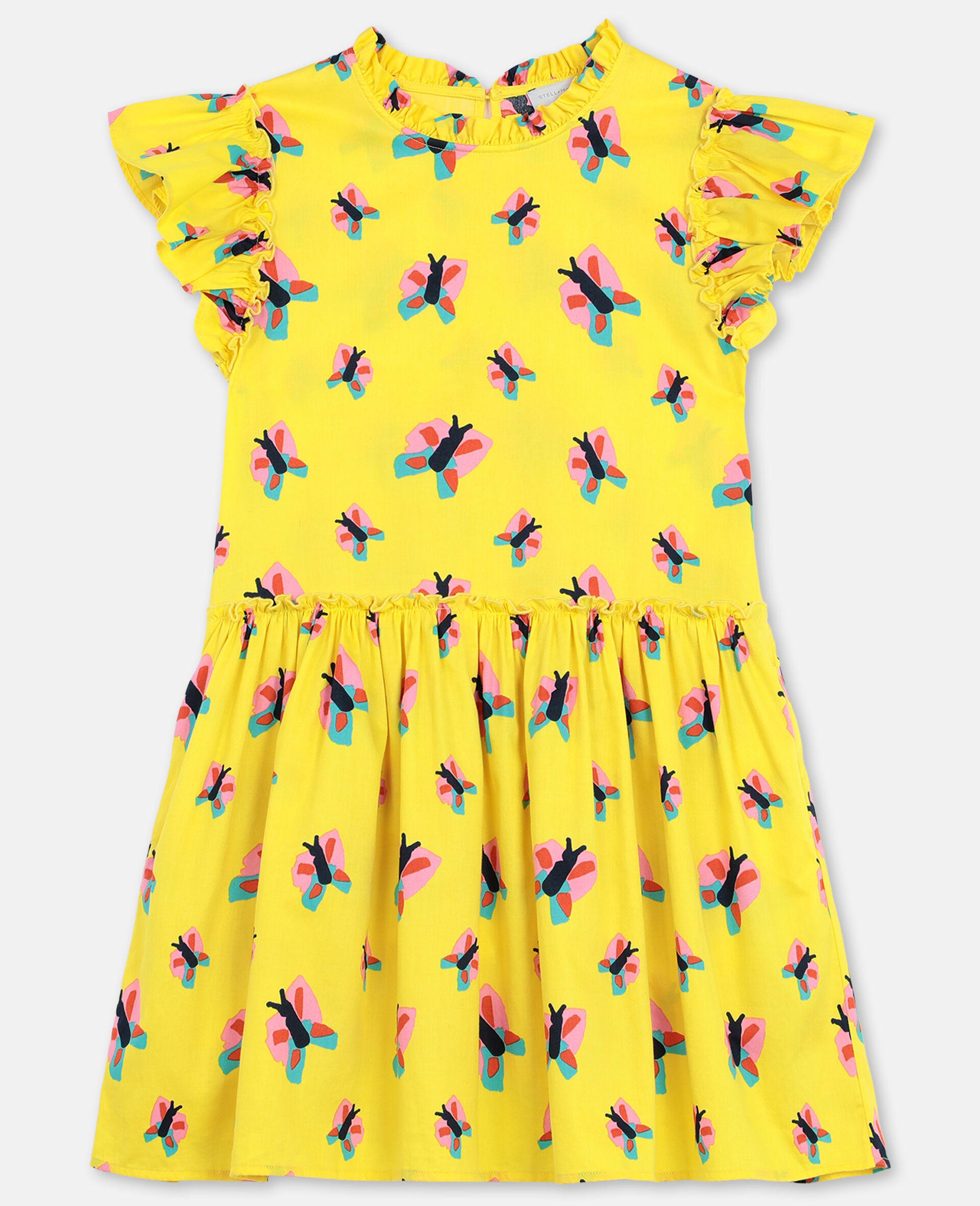 Butterfly Cotton Dress-Yellow-large image number 0