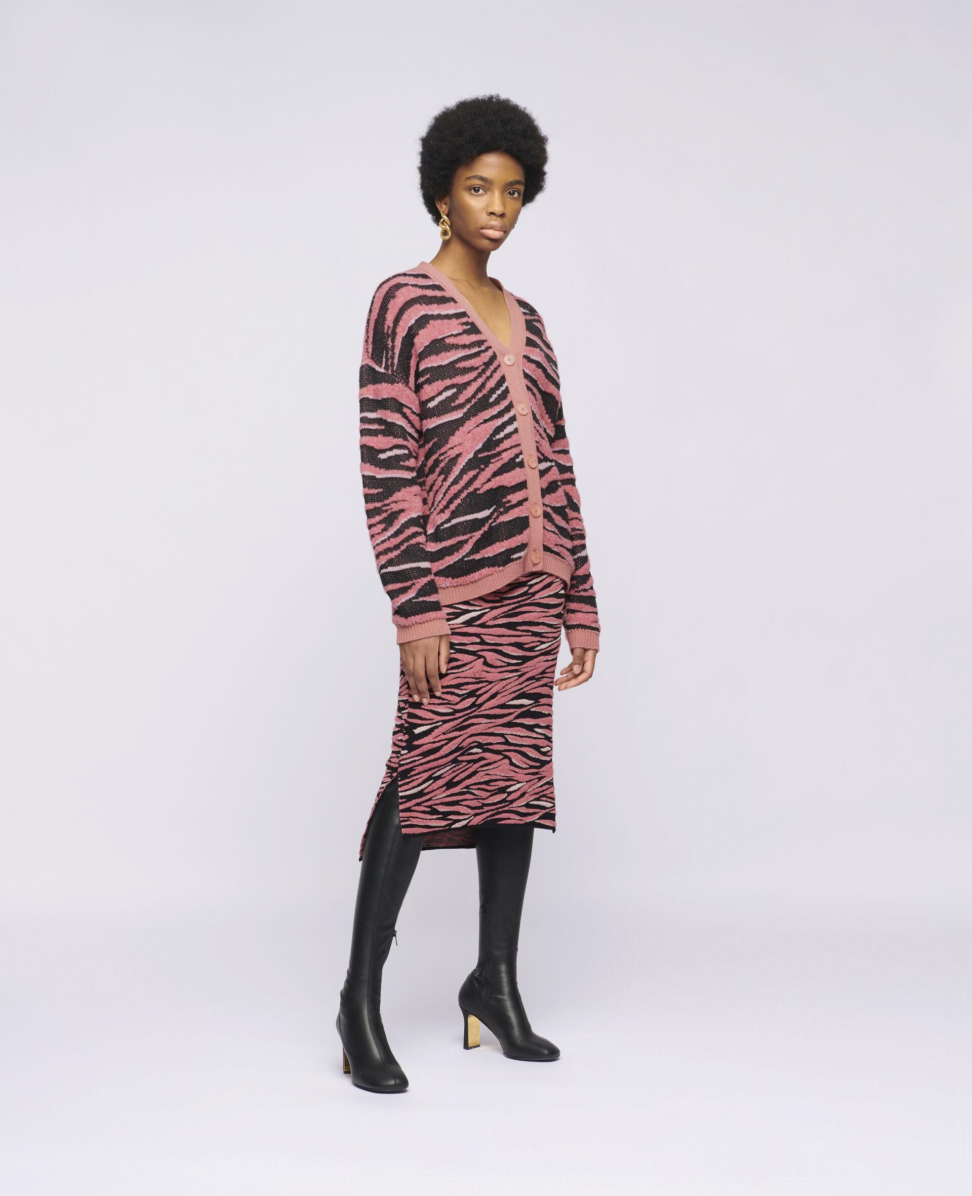 Animal Pattern Skirt-Brown-large image number 1