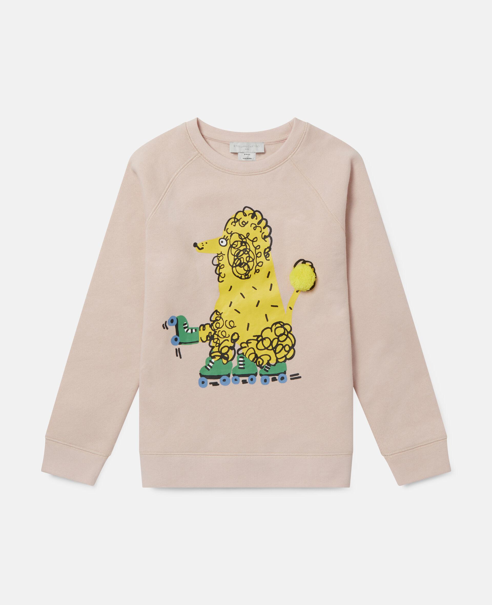 Skating Poodle Fleece Sweatshirt-Pink-large image number 0