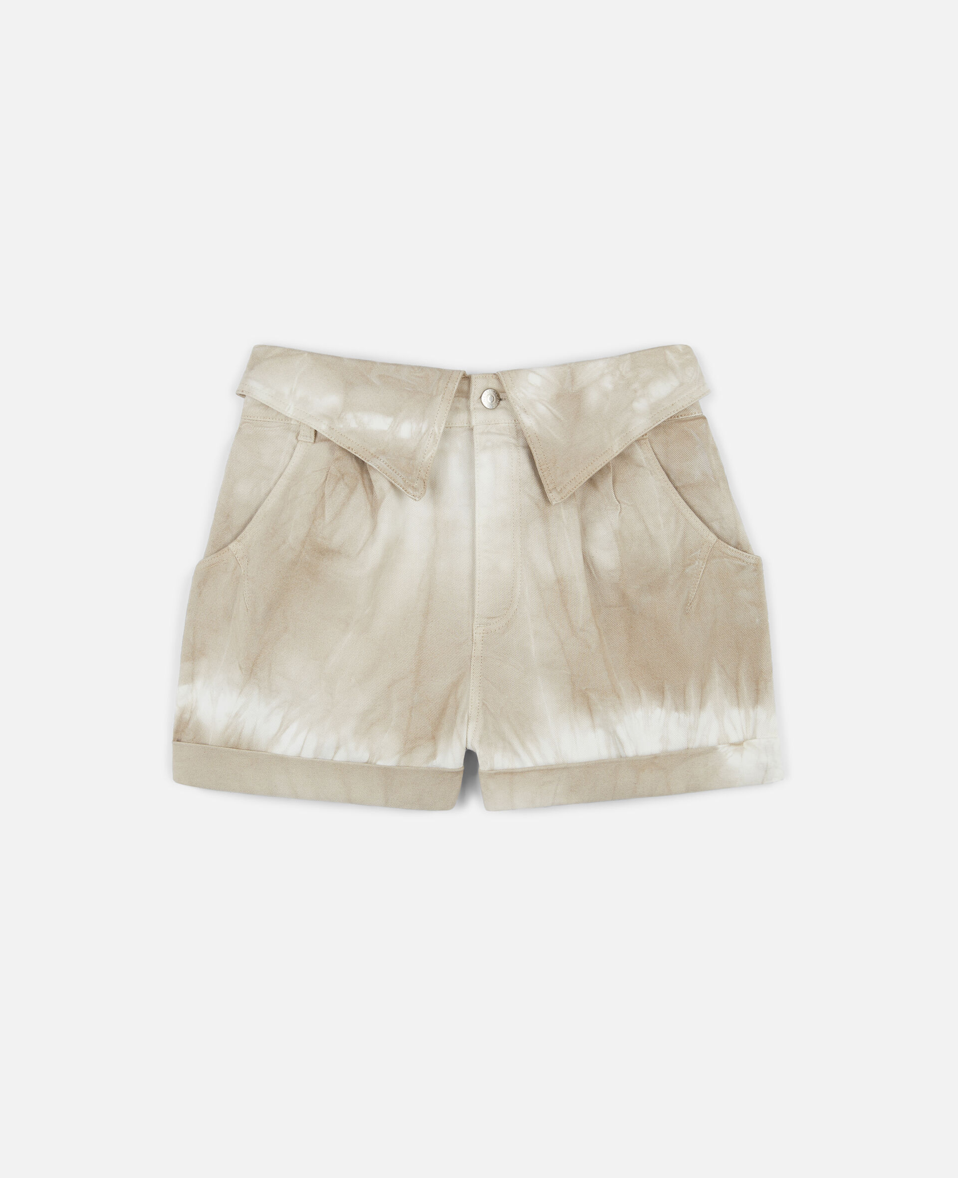 Tie-Dye Denim Shorts-Beige-large image number 0