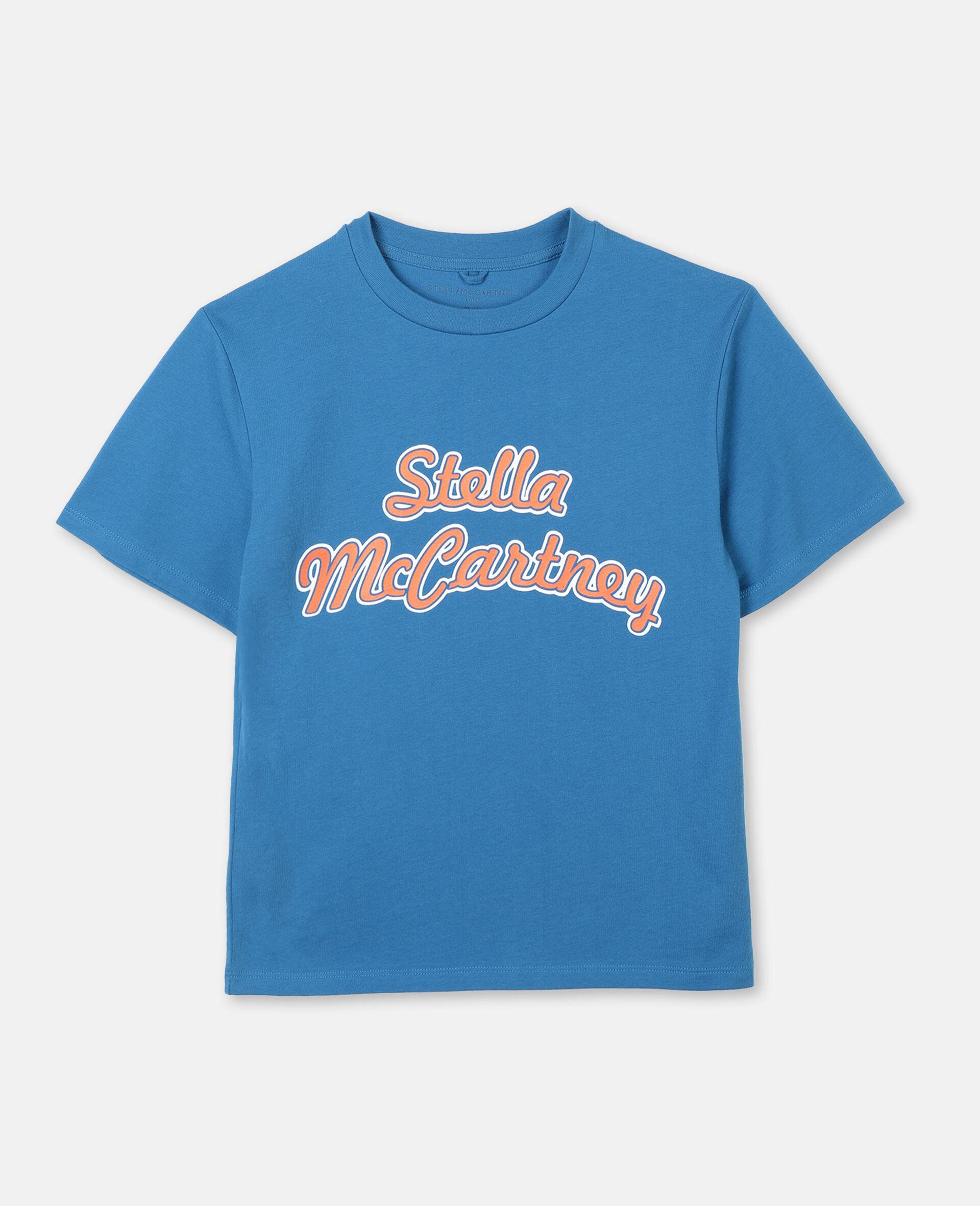 T-shirt de sport oversize en coton avec logo -Bleu-large image number 0