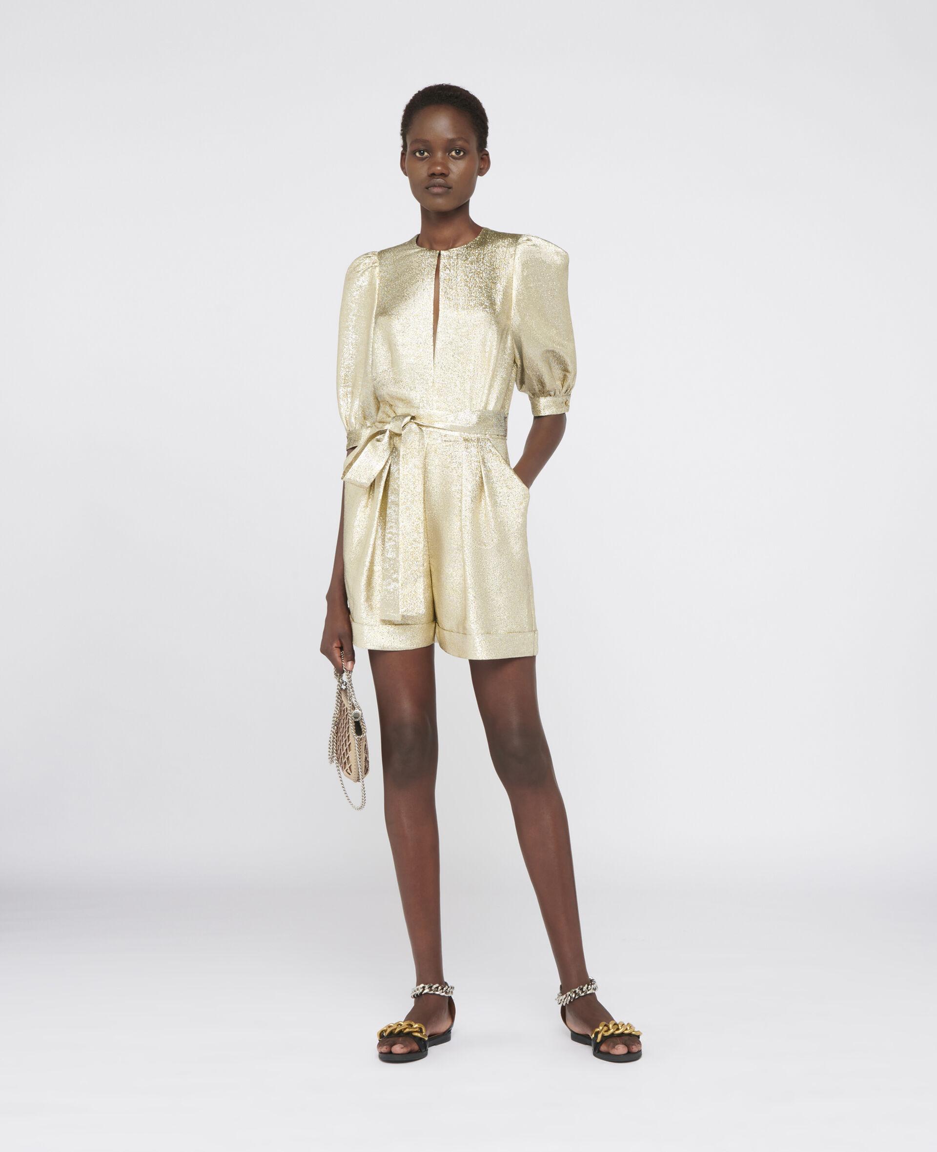 Elisa Lurex Jumpsuit-Yellow-large image number 1