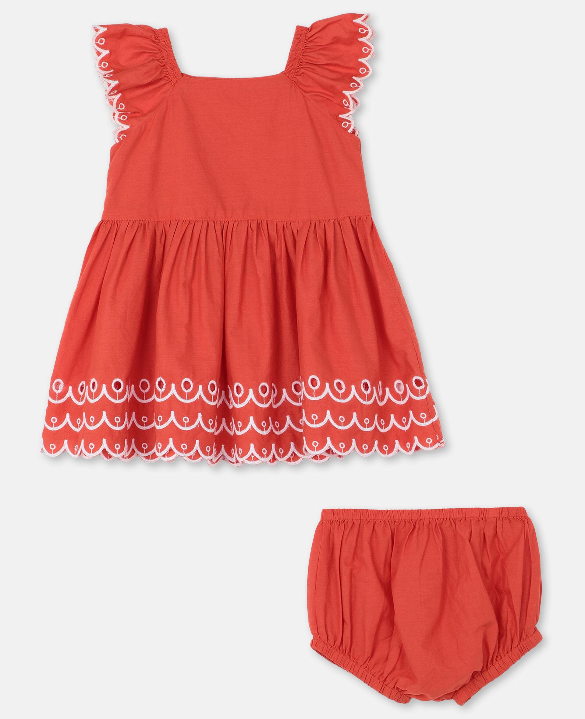 Kleid aus Baumwolle mit Muschelsaum-Rot-large image number 0