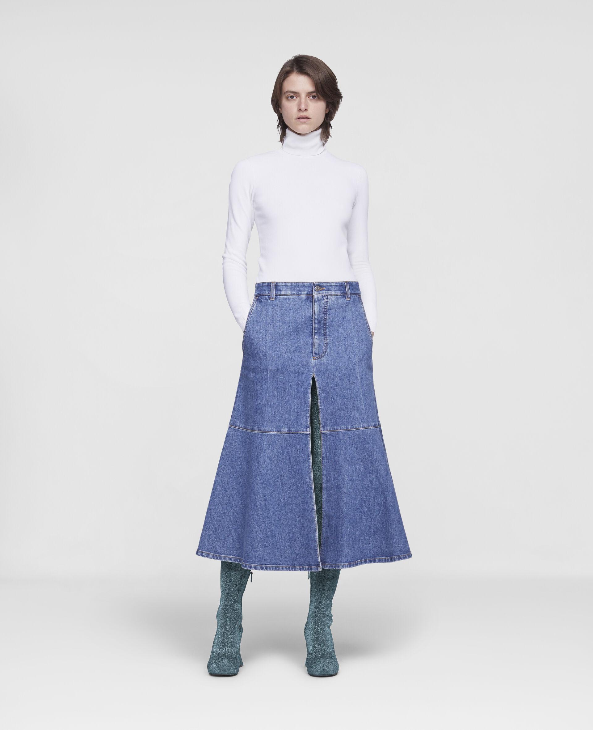 Flared Denim Skirt -Blue-large image number 1