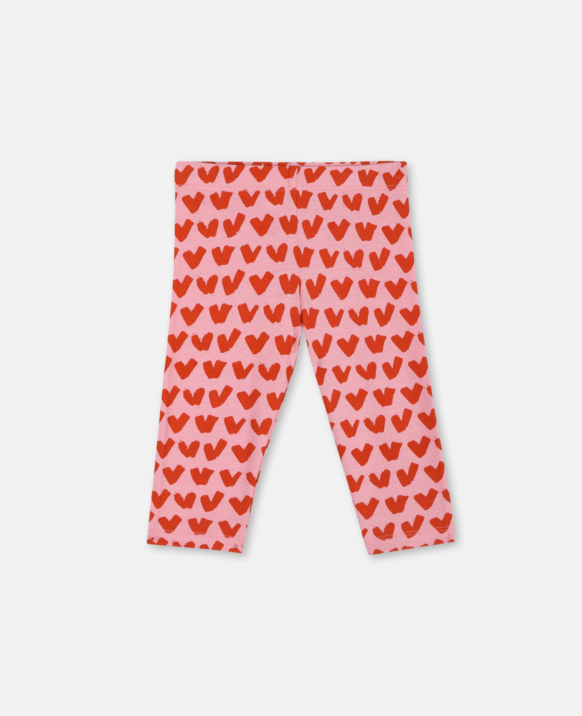 Hearts Cotton Leggings -Pink-large image number 0