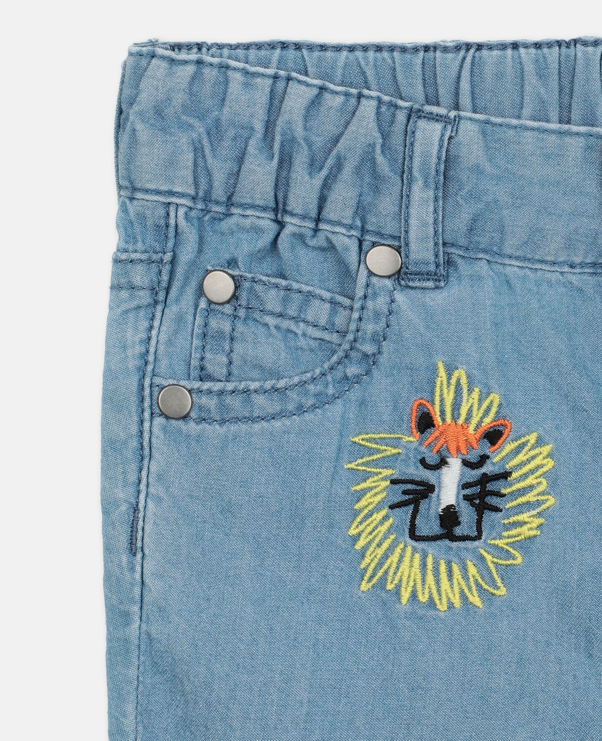 Embroidered Cats Cotton Chambray Shorts -Blue-large image number 1