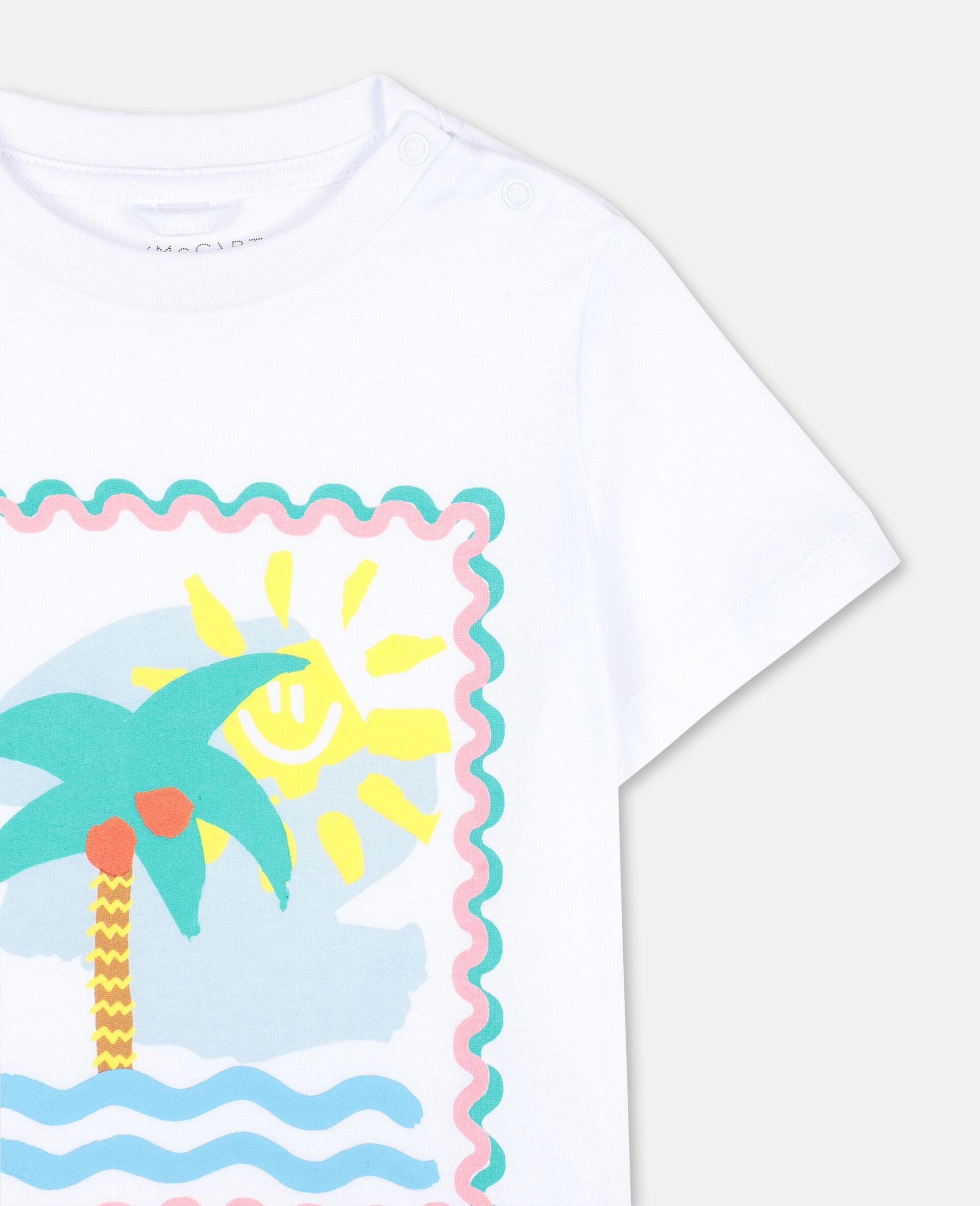 T-Shirt aus Baumwolle mit Postkarten-Print-Weiß-large image number 2