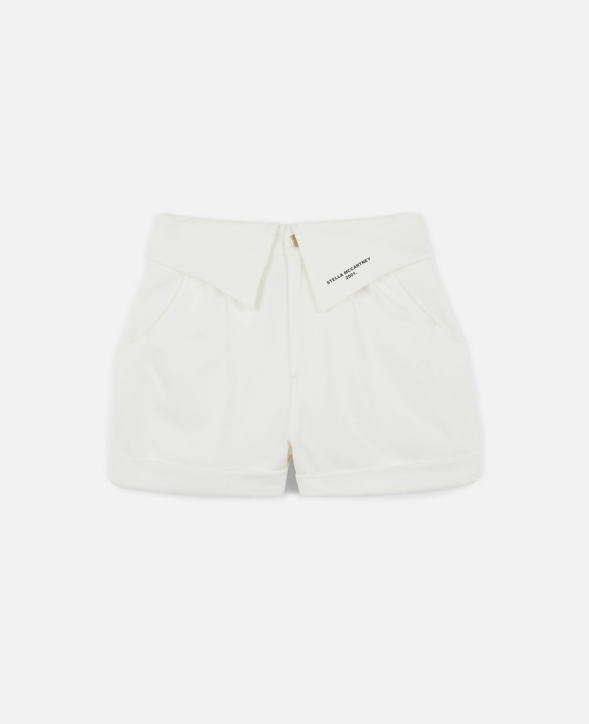 Denim-Shorts mit Print-Weiß-large image number 0