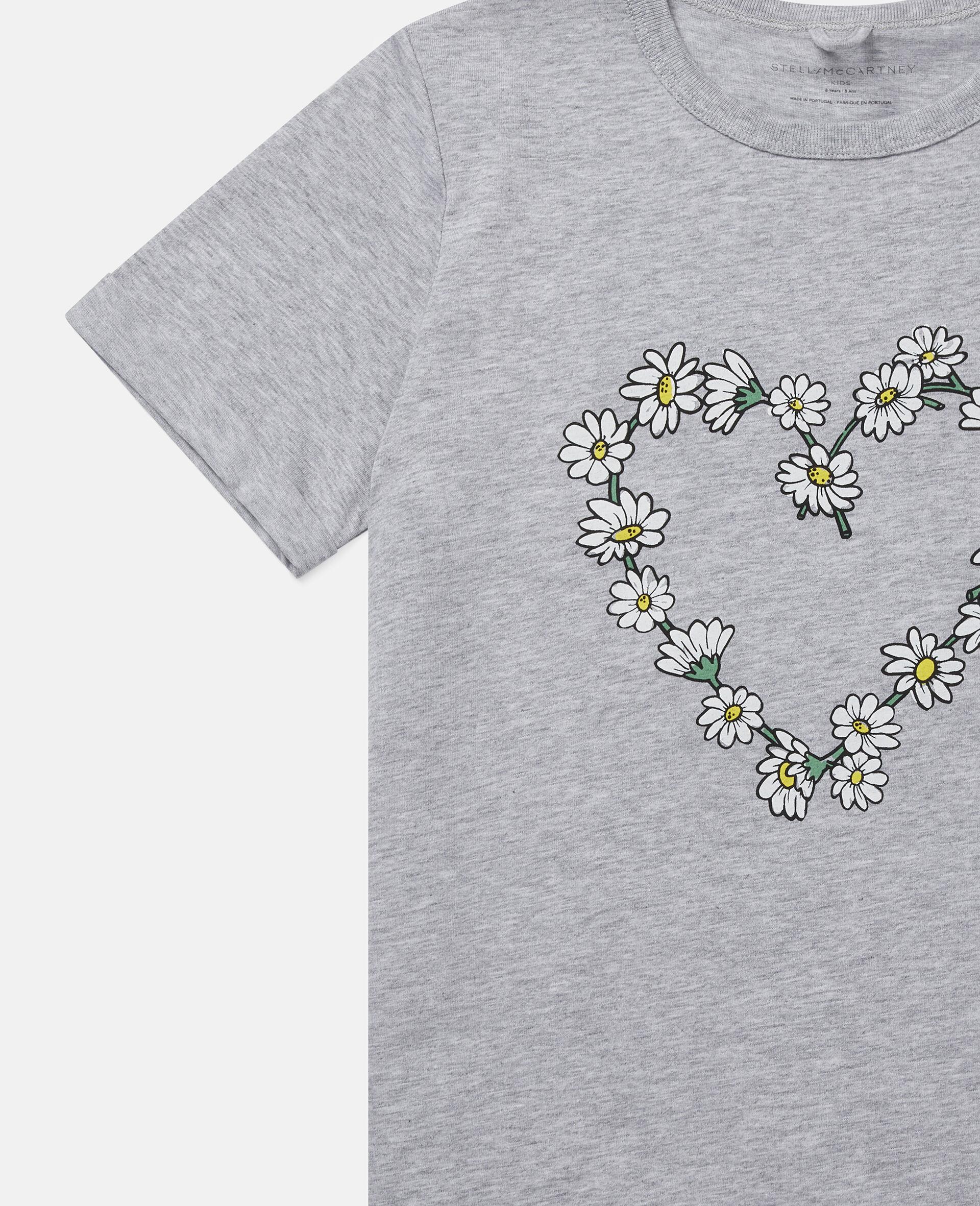Baumwoll-T-Shirt mit Gänseblümchenherz-Grau-large image number 2