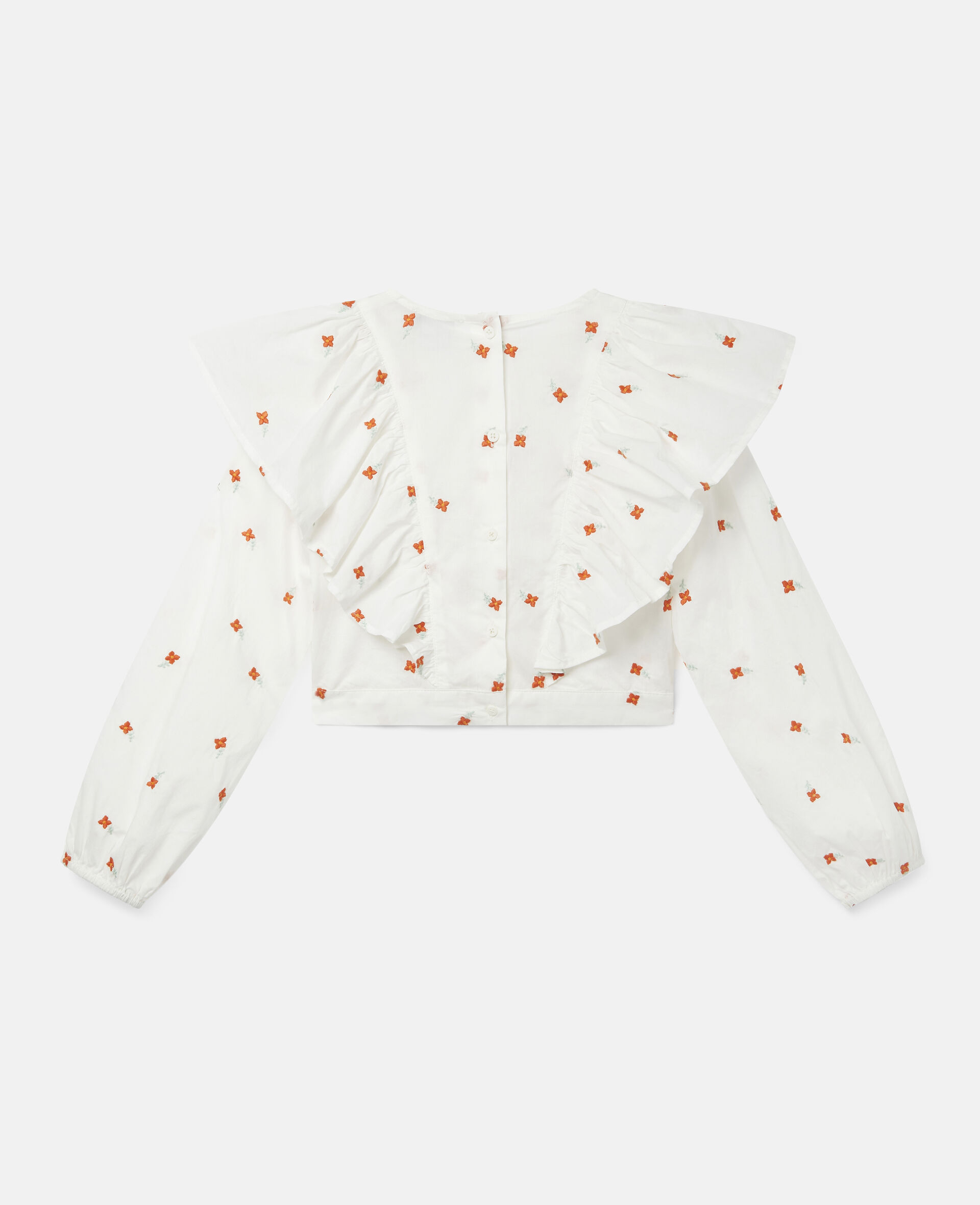 Embroidered Flowers Cotton Top-White-large image number 3