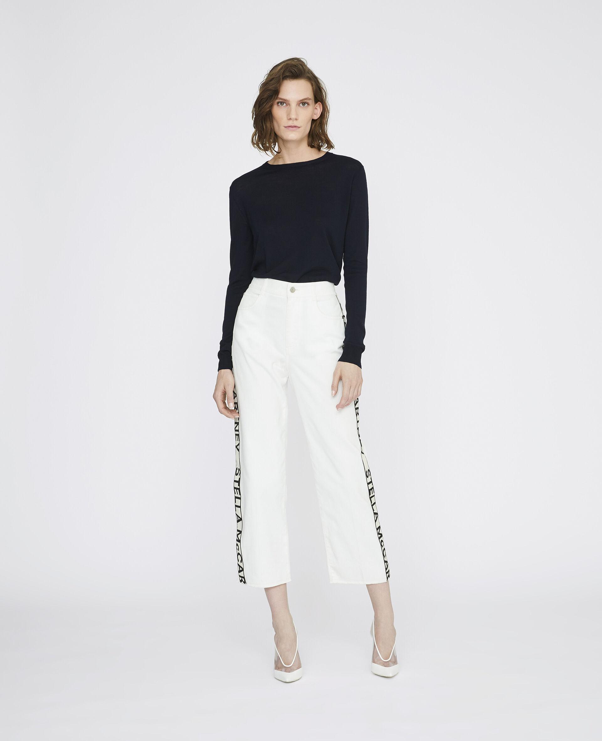 九分牛仔裤-白色-large image number 1