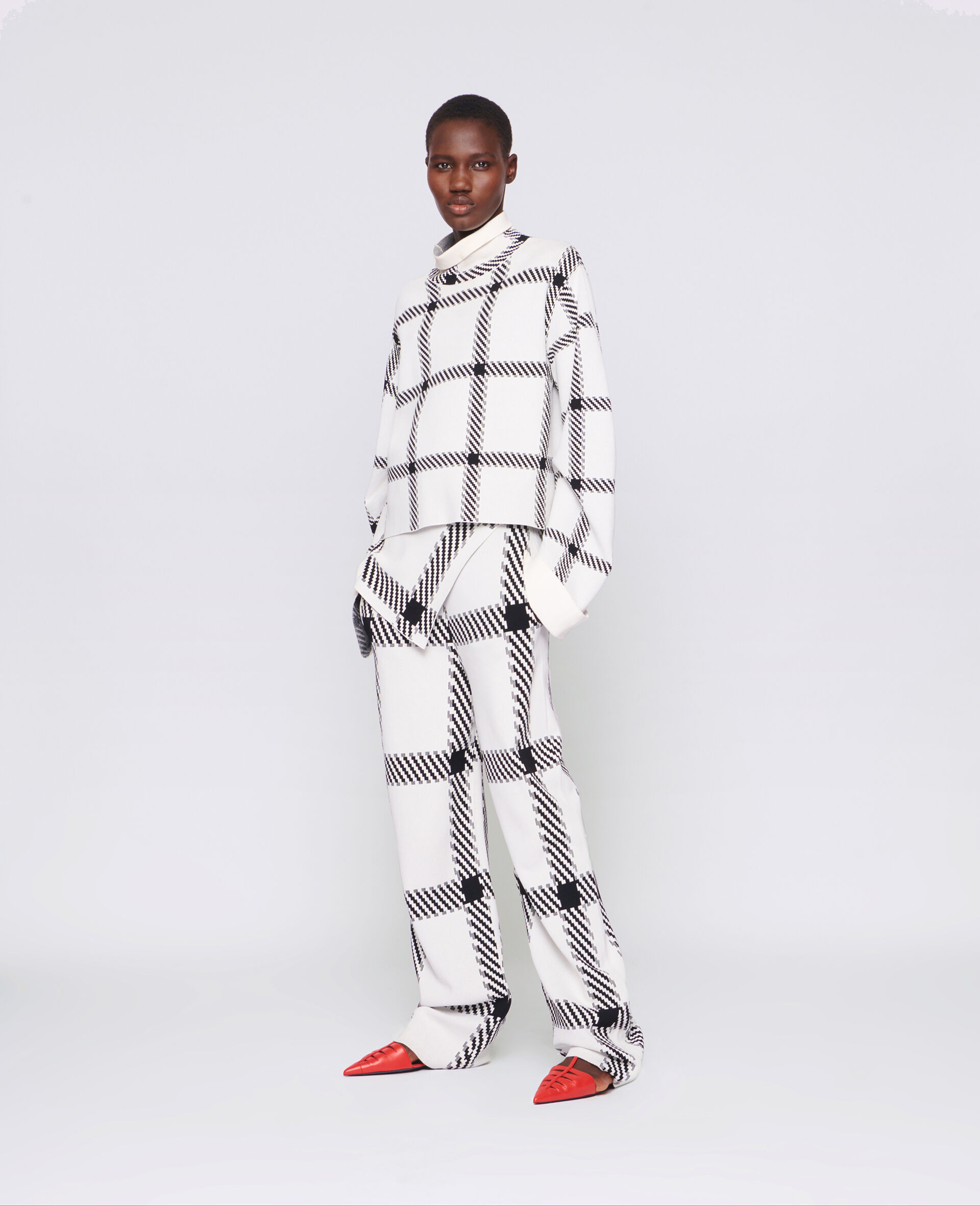 Knit Check Pants-White-large image number 1