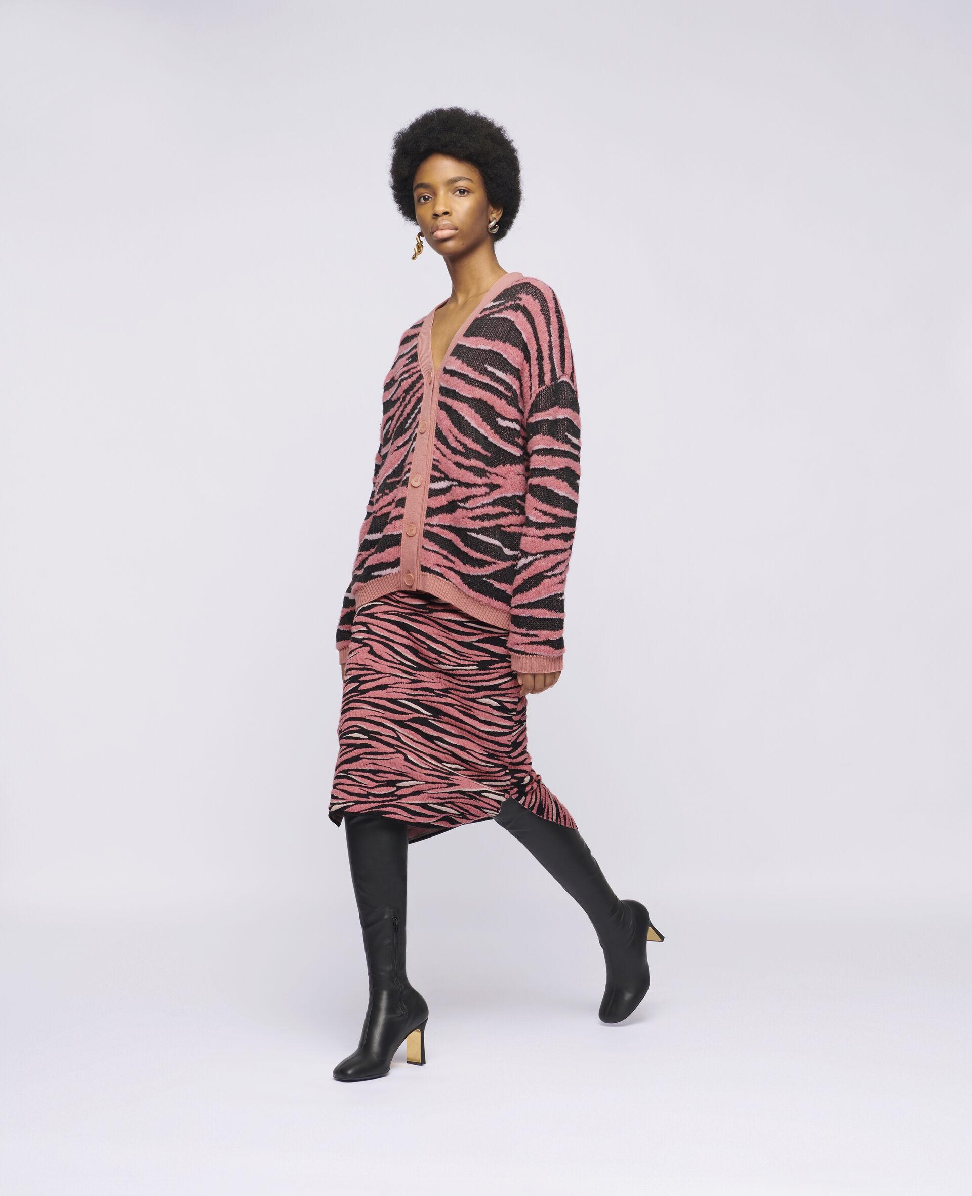 Animal Pattern Cardigan-Pink-large image number 1