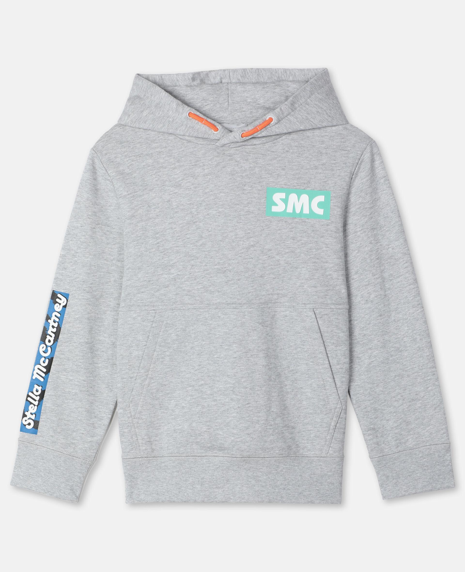 Sweat-shirt à capuche sportif oversize avec écusson logo -Gris-large image number 0