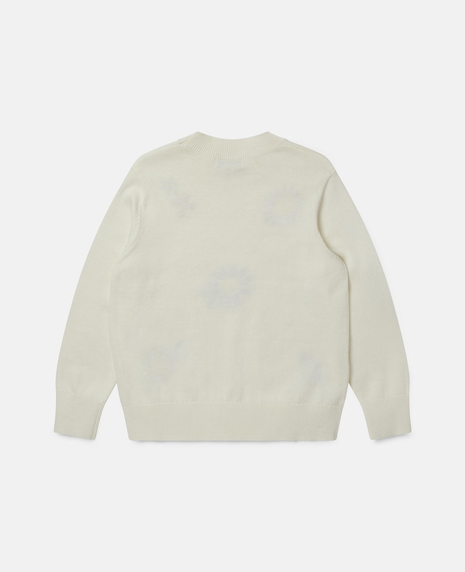 Übergroßer Pullover mit Blumenstickerei-Weiß-large image number 3